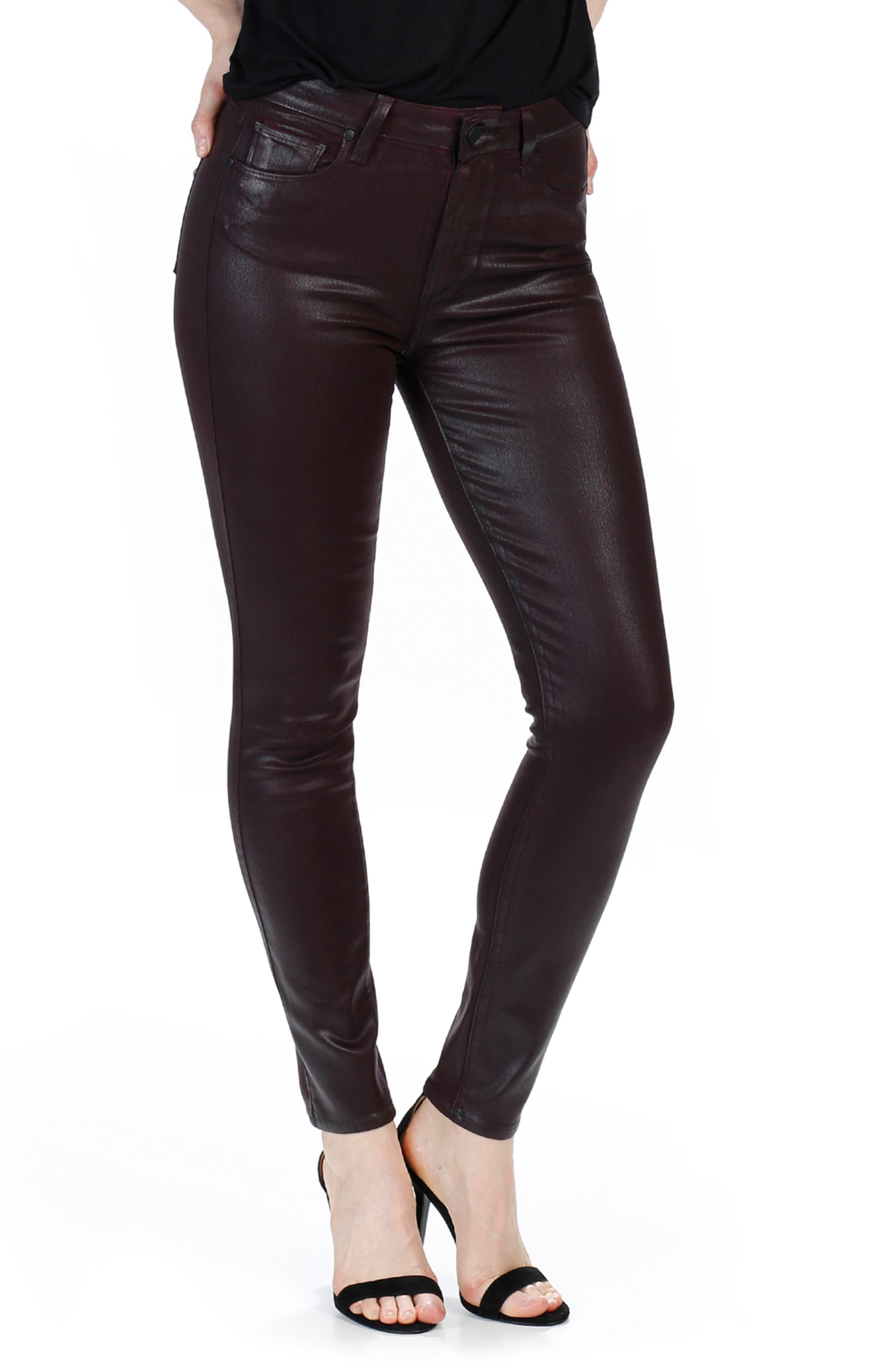 Alternate Image 3  - PAIGE Transcend - Hoxton High Waist Ankle Skinny Jeans (Wine Luxe Coated)
