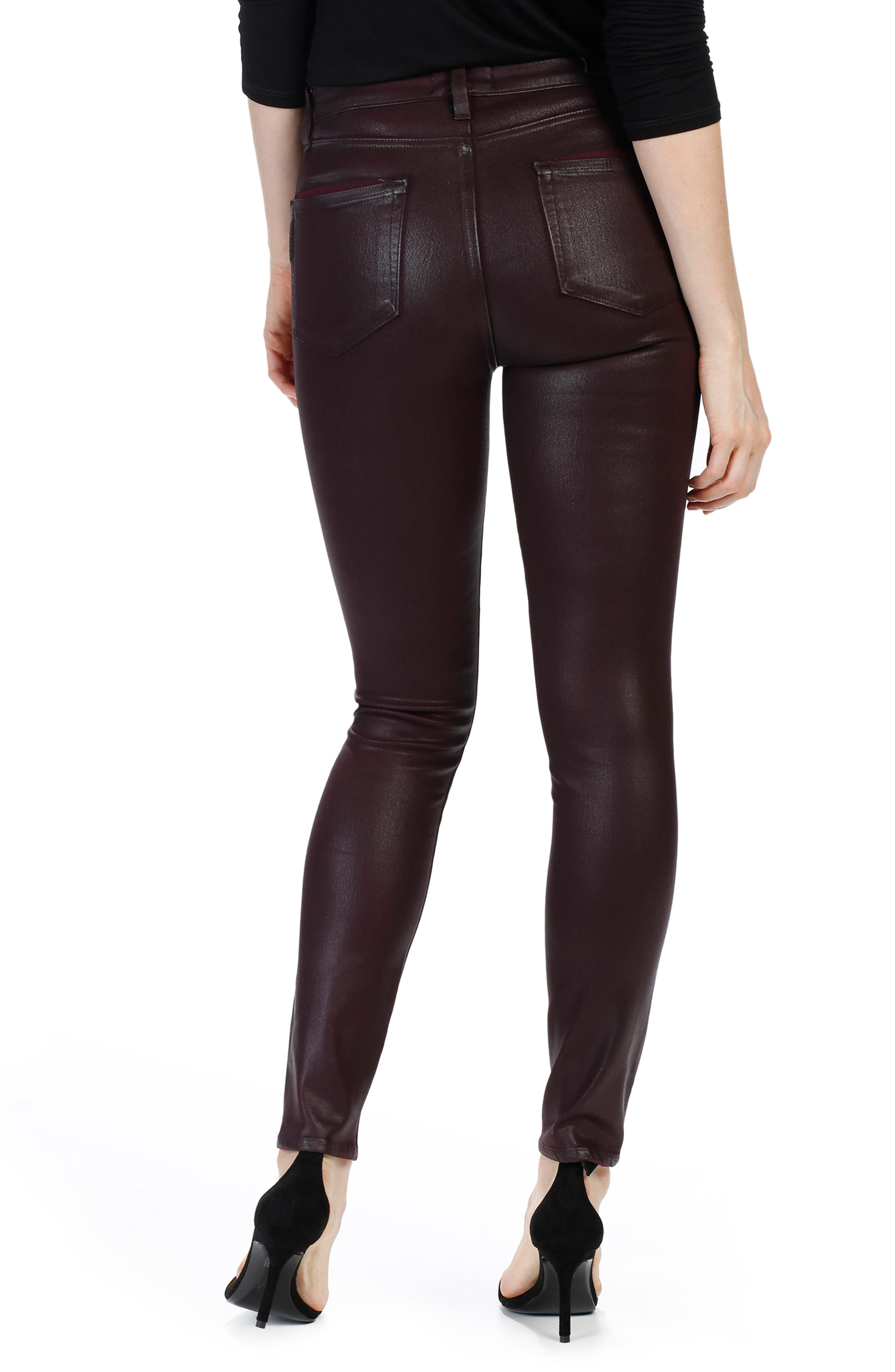 Alternate Image 2  - PAIGE Transcend - Hoxton High Waist Ankle Skinny Jeans (Wine Luxe Coated)
