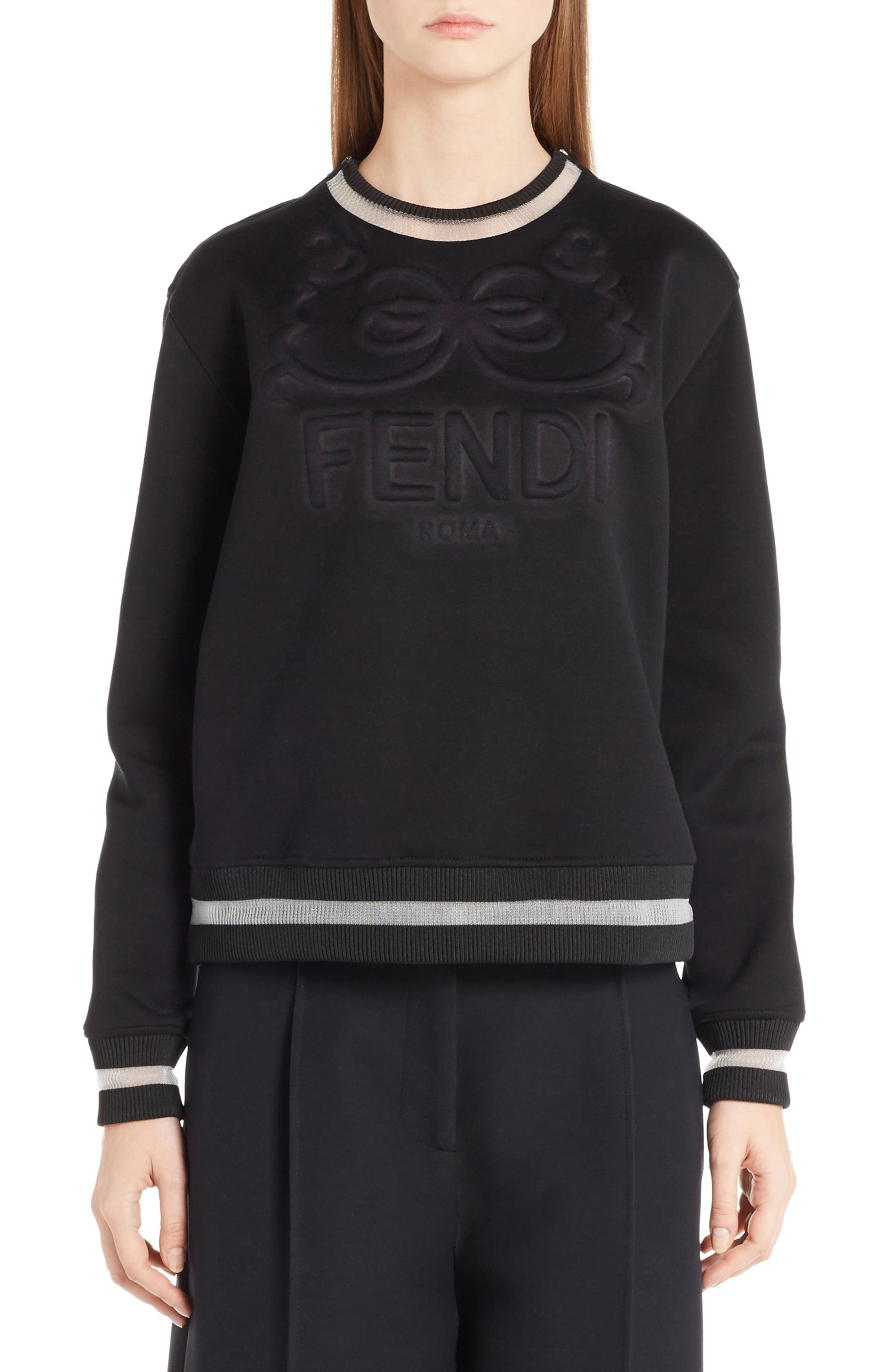 Logo Jersey Sweatshirt,                         Main,                         color, Black