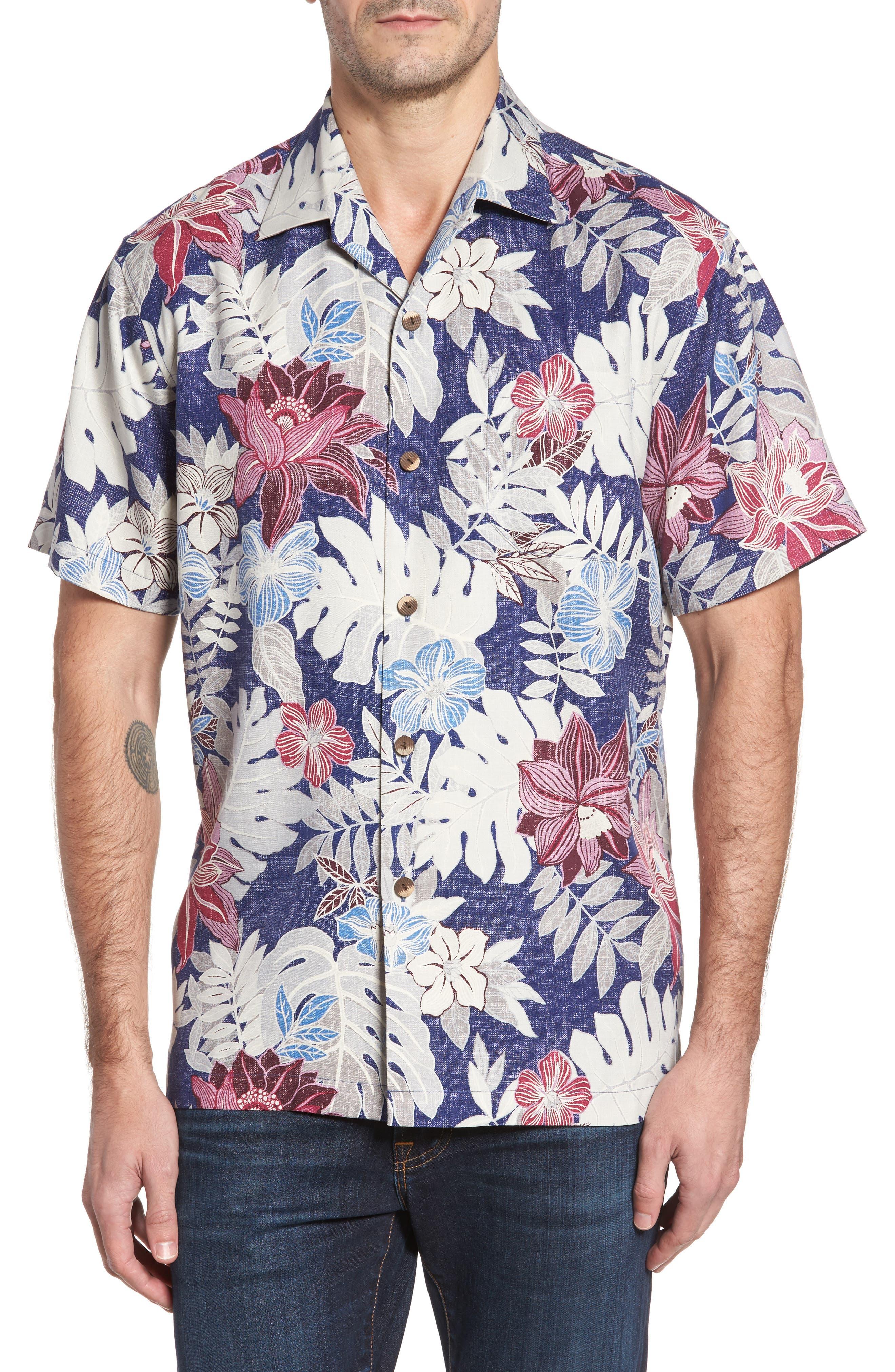 Main Image - Tommy Bahama Desert Blooms Original Fit Print Silk Camp Shirt