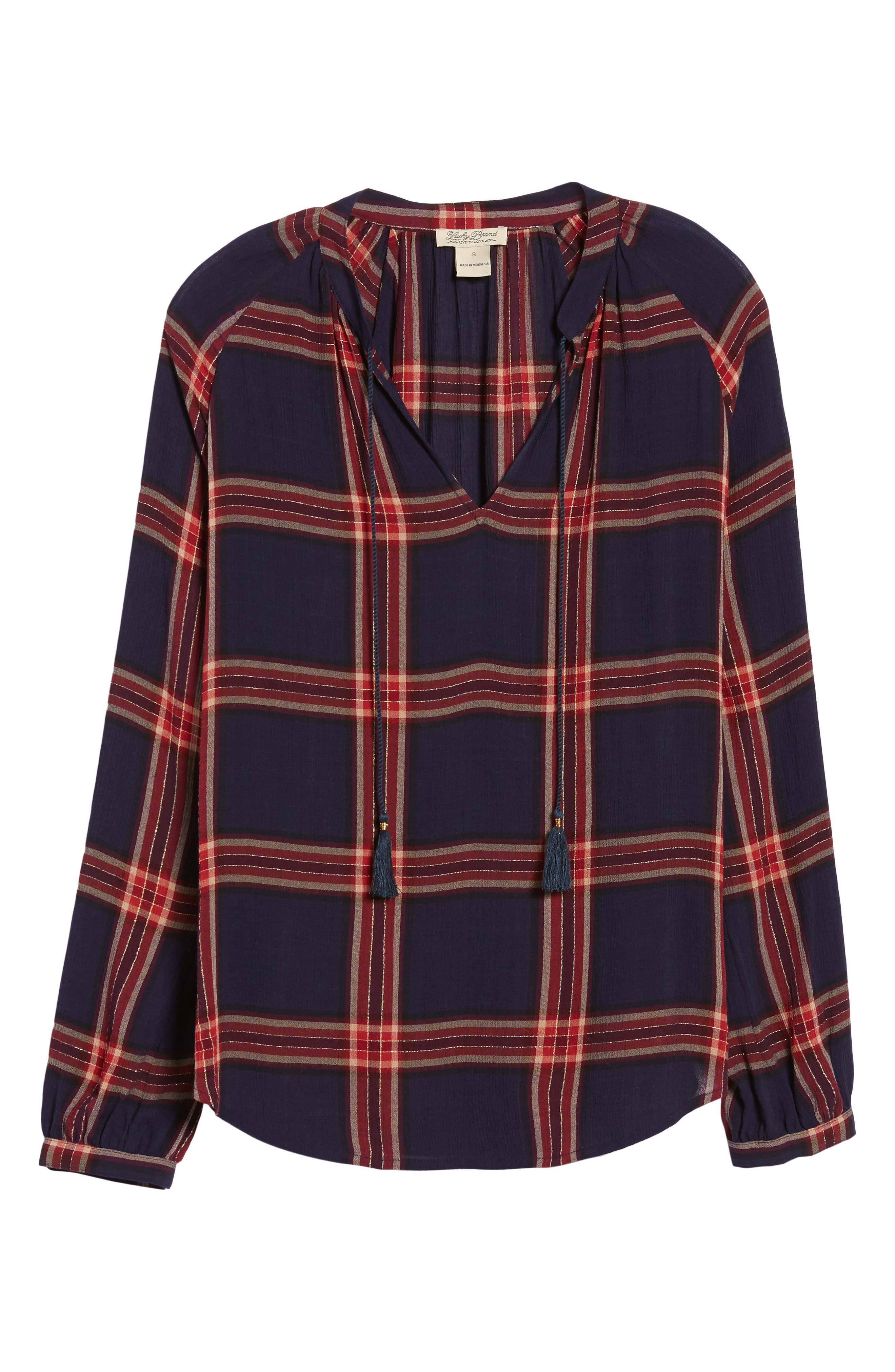Plaid Shirt,                             Alternate thumbnail 6, color,                             Navy Multi