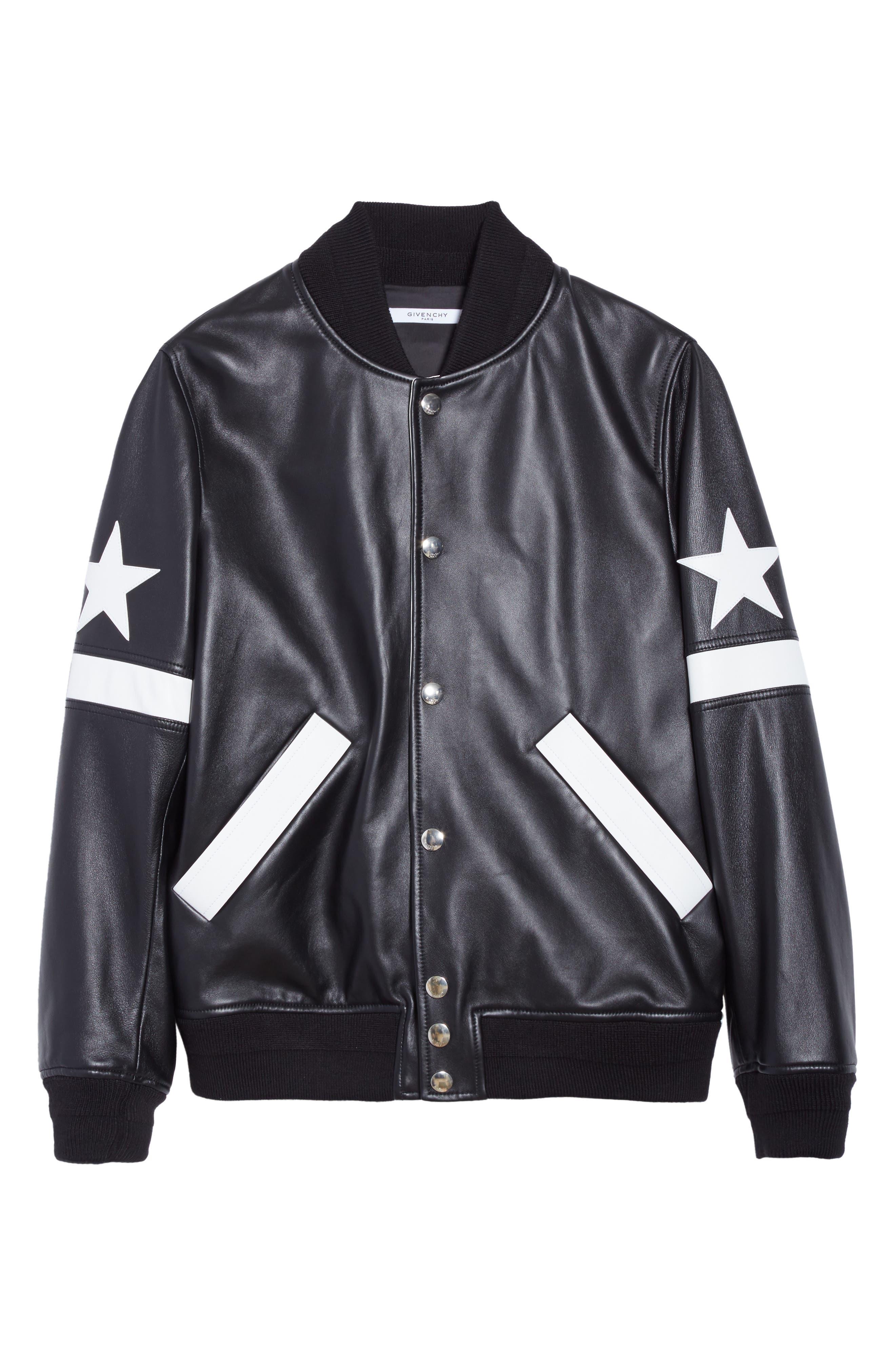 Leather Bomber Jacket,                             Alternate thumbnail 6, color,                             Black