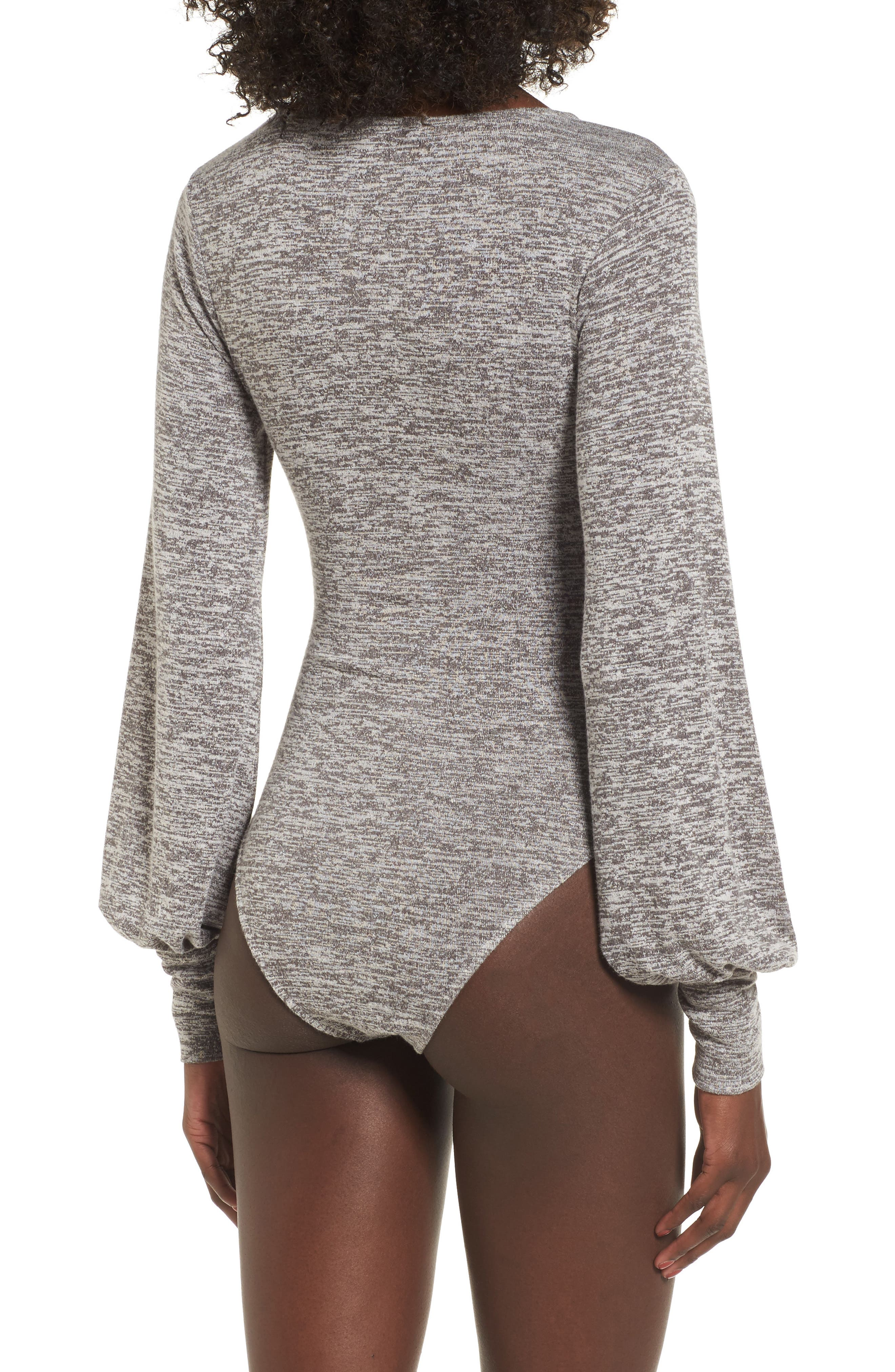 Ruched Bodysuit,                             Alternate thumbnail 2, color,                             Grey Cloudy Heather