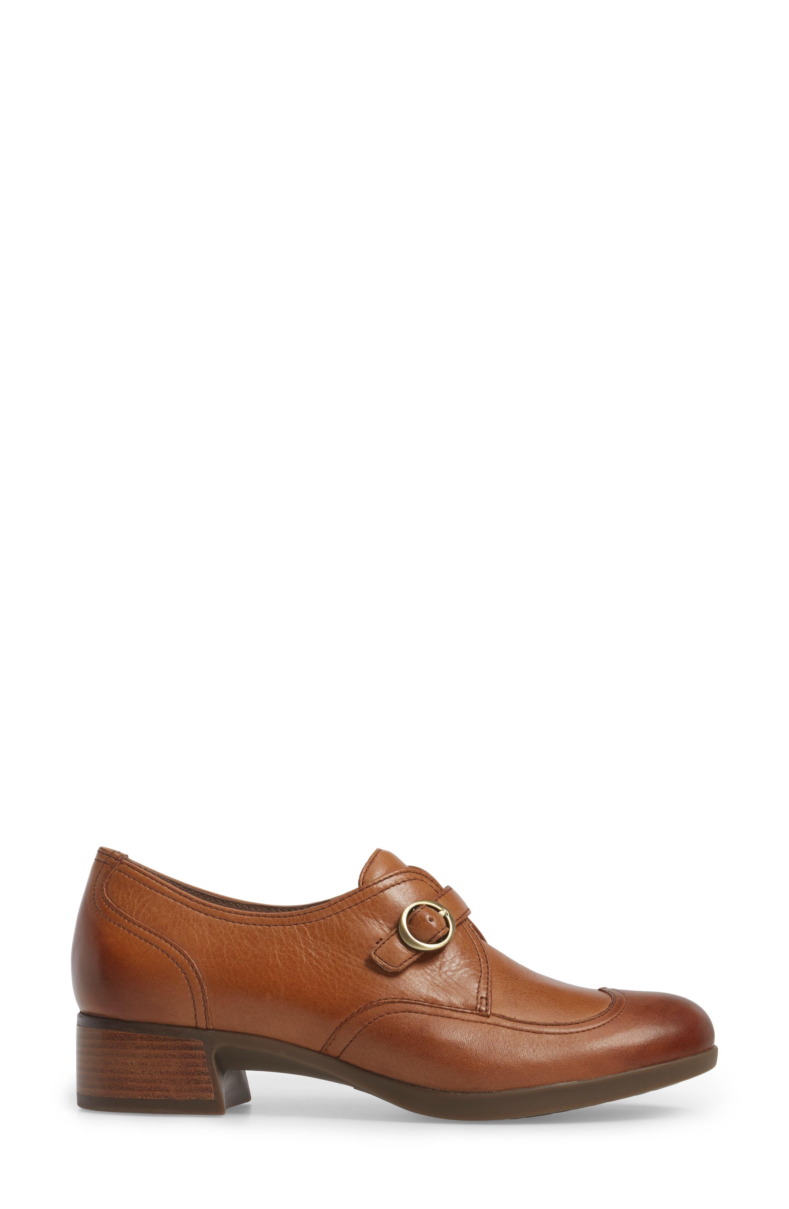 Livie Wingtip Oxford,                             Alternate thumbnail 3, color,                             Saddle Burnished Nappa Leather