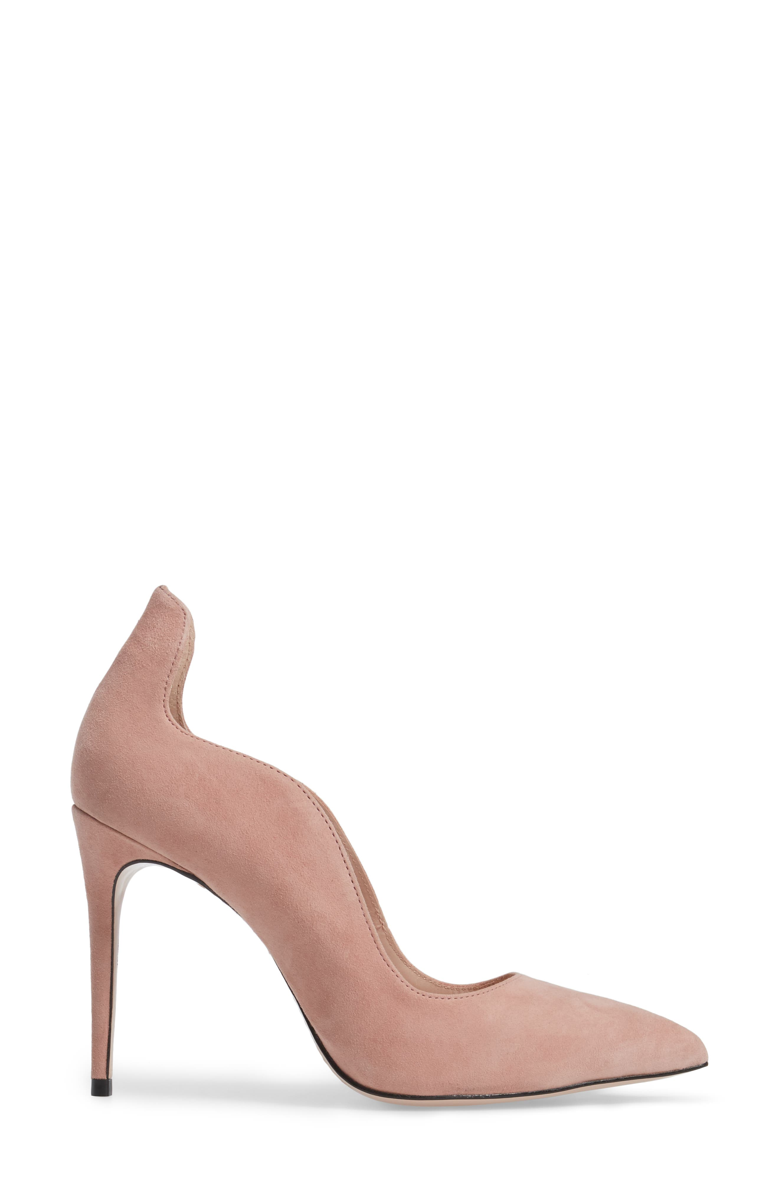 Anika Curvy Pump,                             Alternate thumbnail 3, color,                             Blush Suede