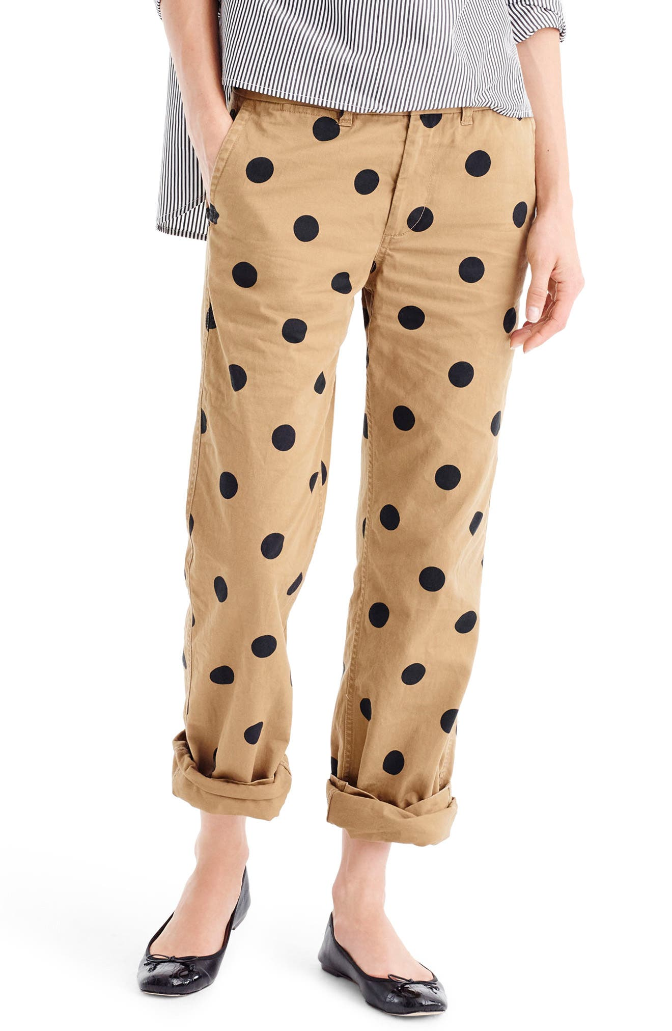 J.Crew Polka Dot Boyfriend Chino Pants (Regular & Petite)