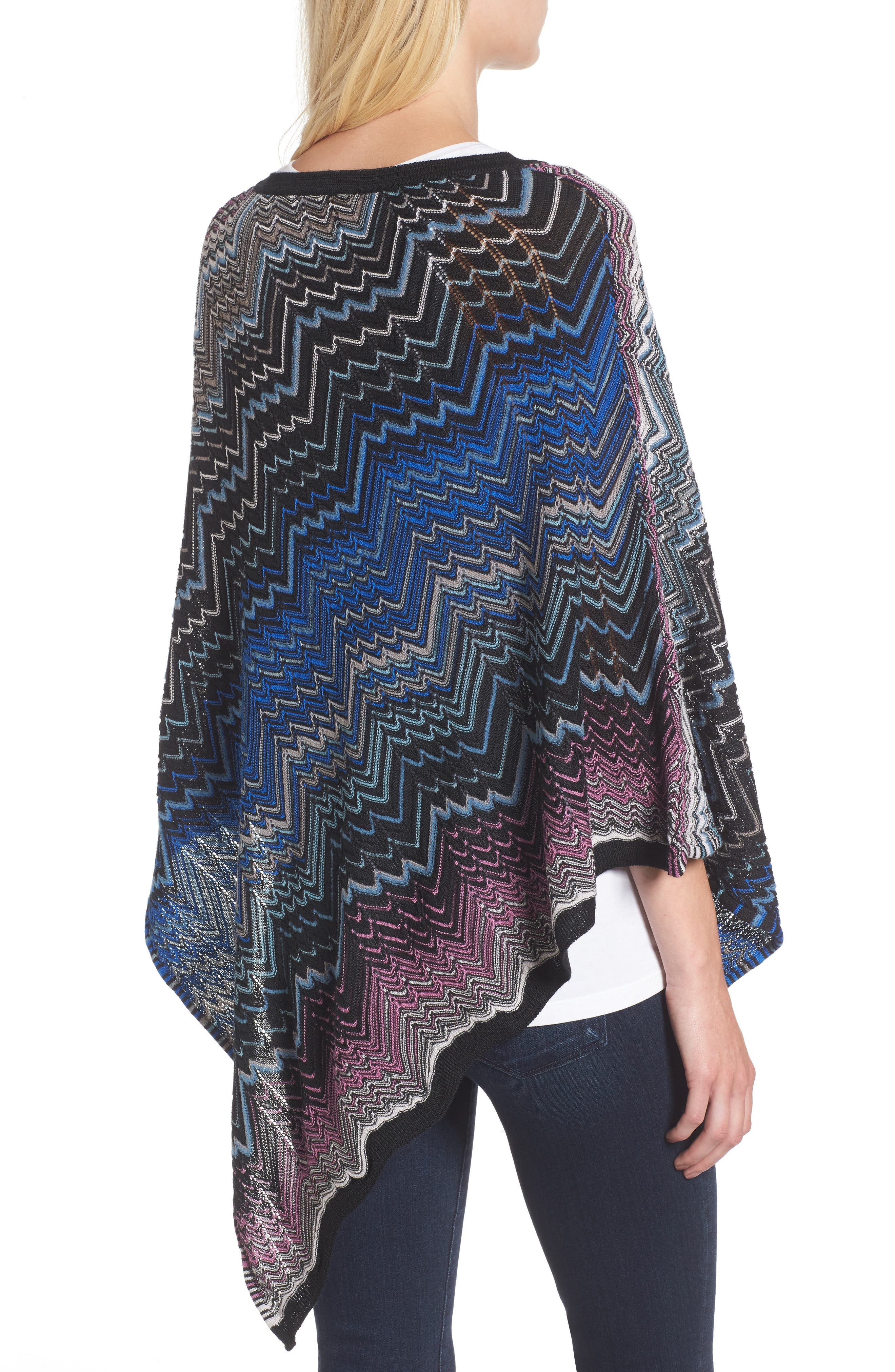 Zigzag Poncho,                             Alternate thumbnail 2, color,                             Blue