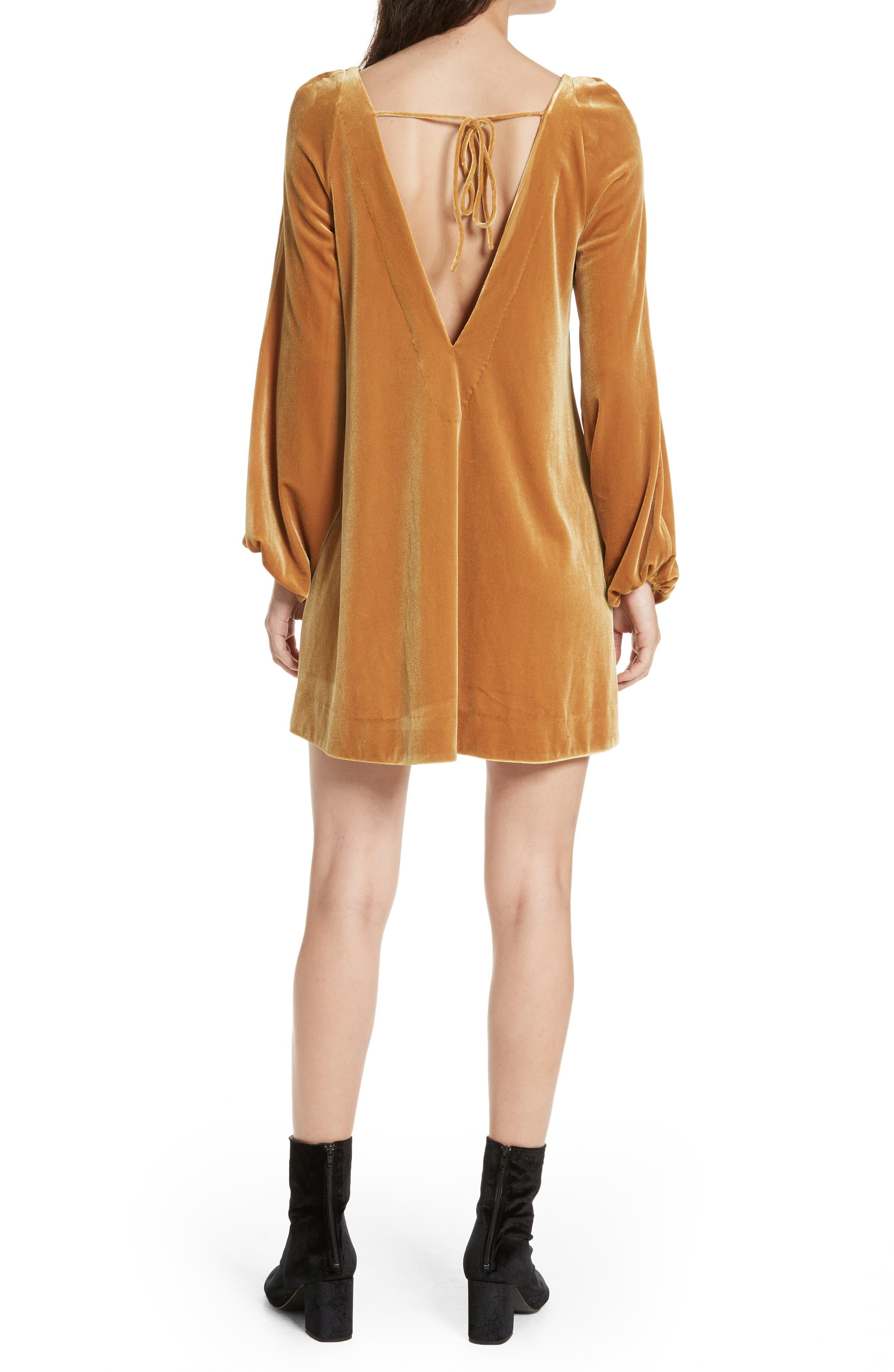 Misha Velvet Minidress,                             Alternate thumbnail 2, color,                             Gold