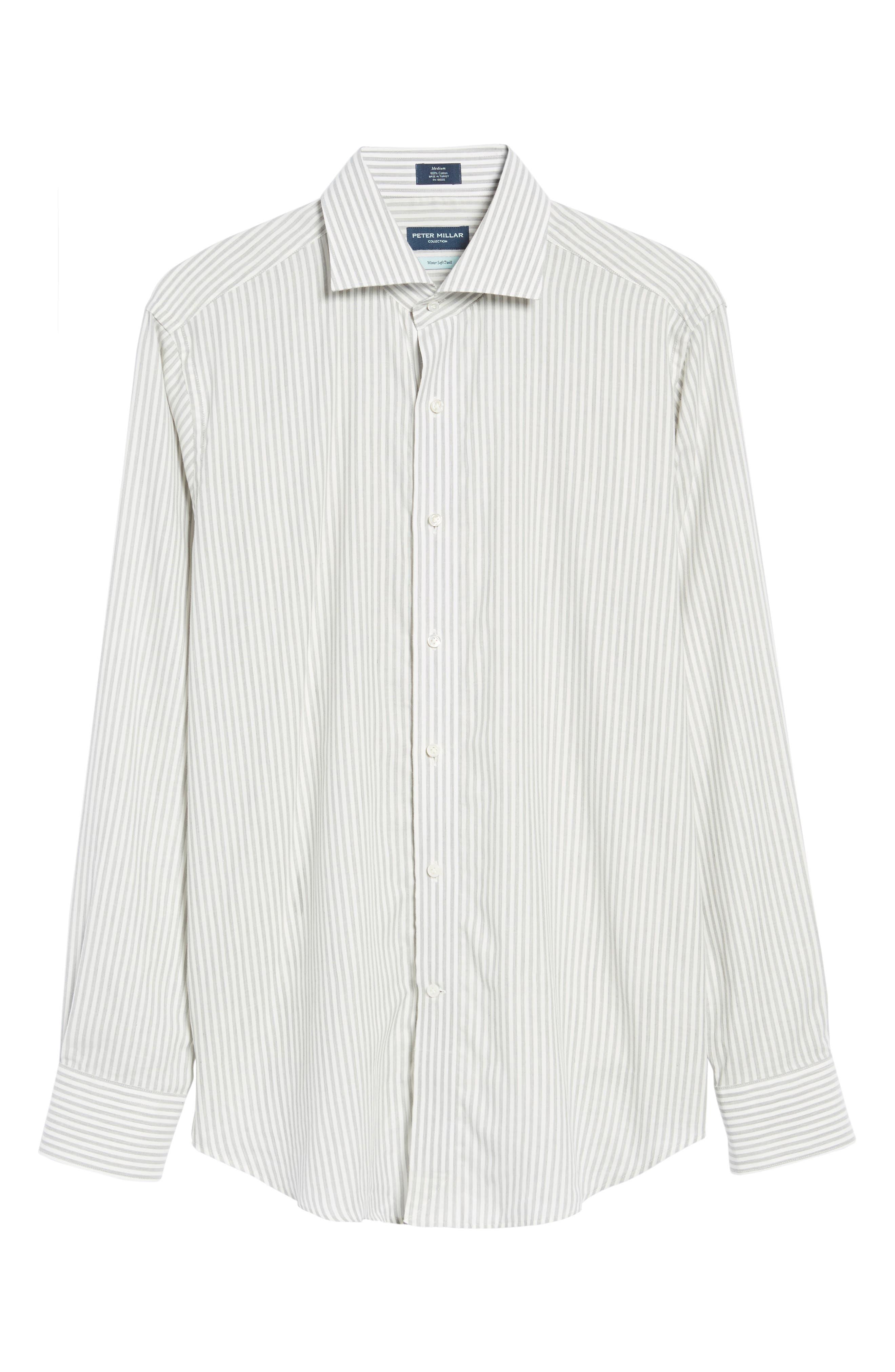 Loch Mélange Stripe Sport Shirt,                             Alternate thumbnail 6, color,                             Argento