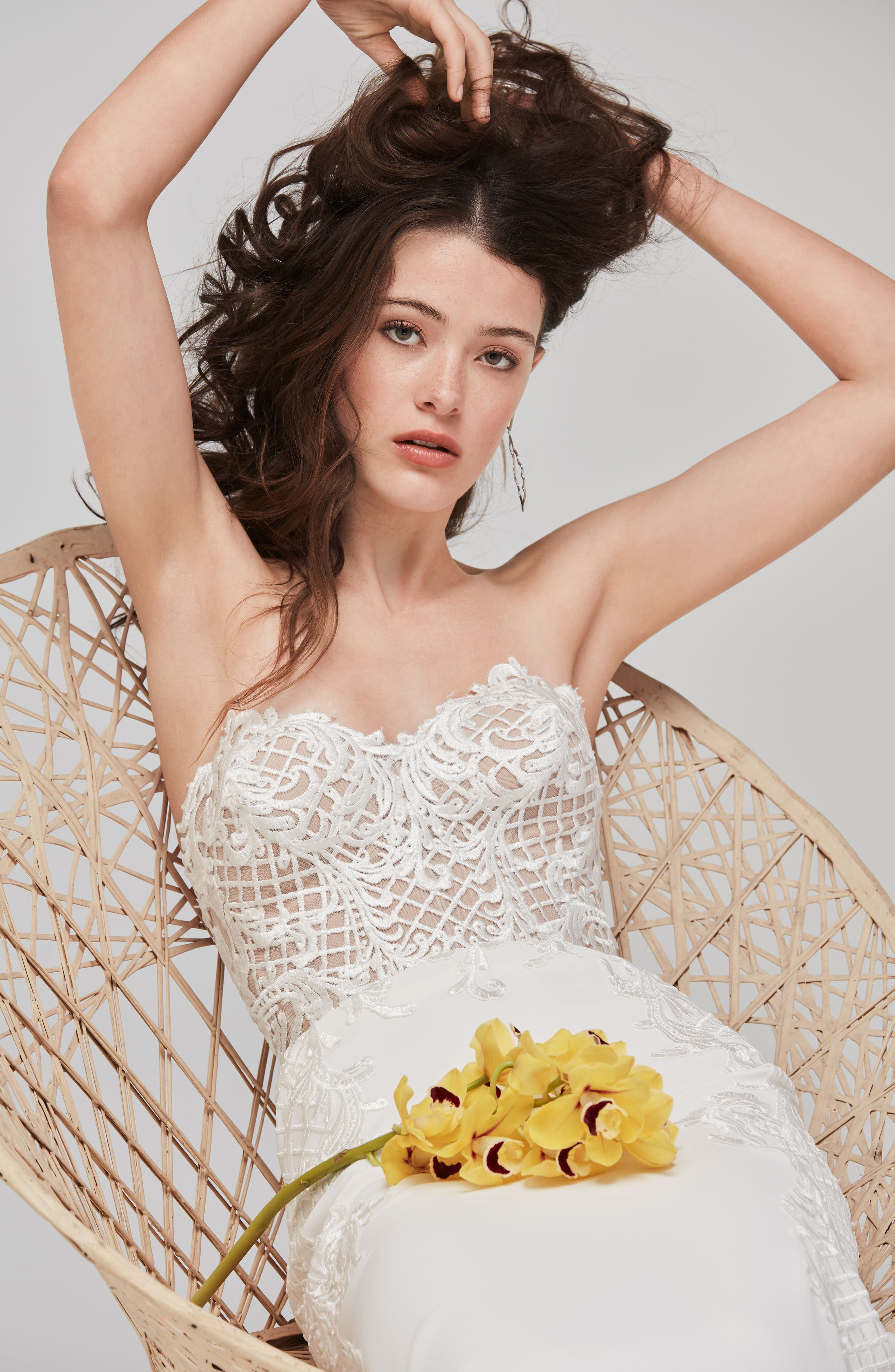 Alternate Image 3  - Willowby Haizea Strapless Lace & Crepe Gown