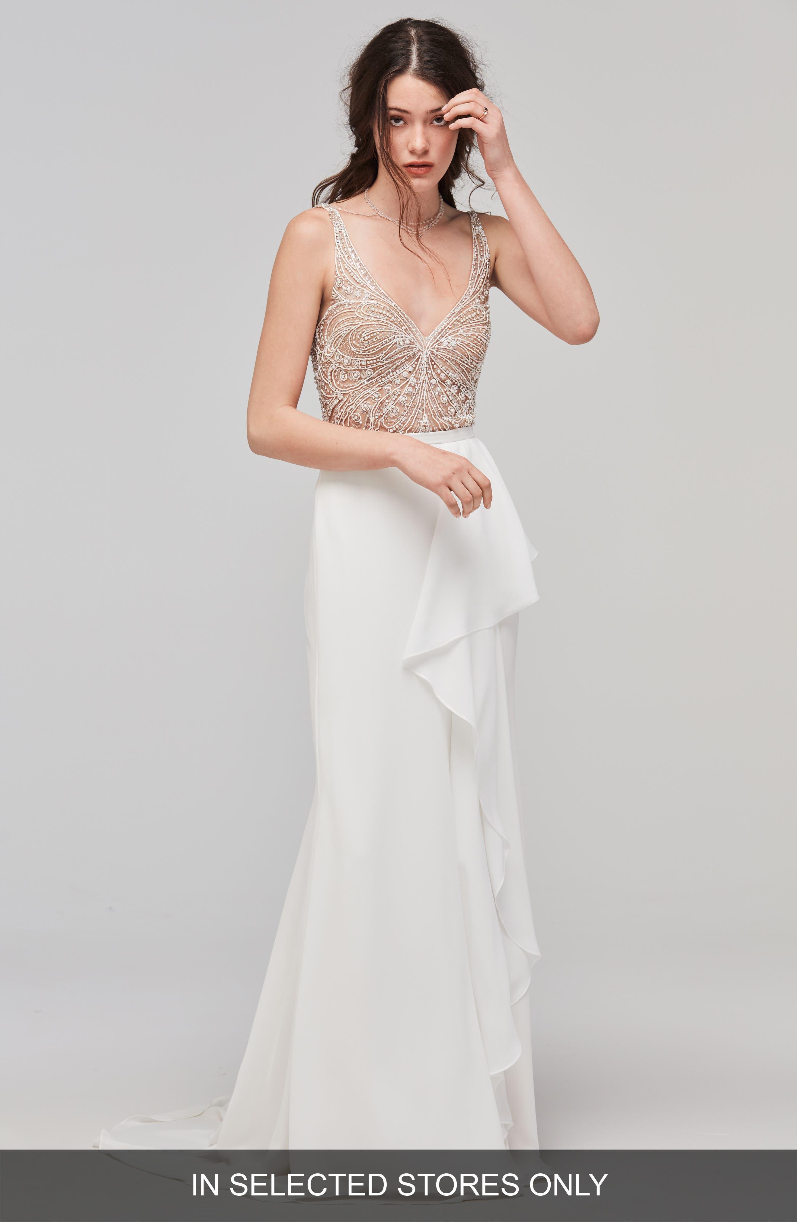 Cielo Flutter Faux Wrap Skirt,                         Main,                         color, Ivory