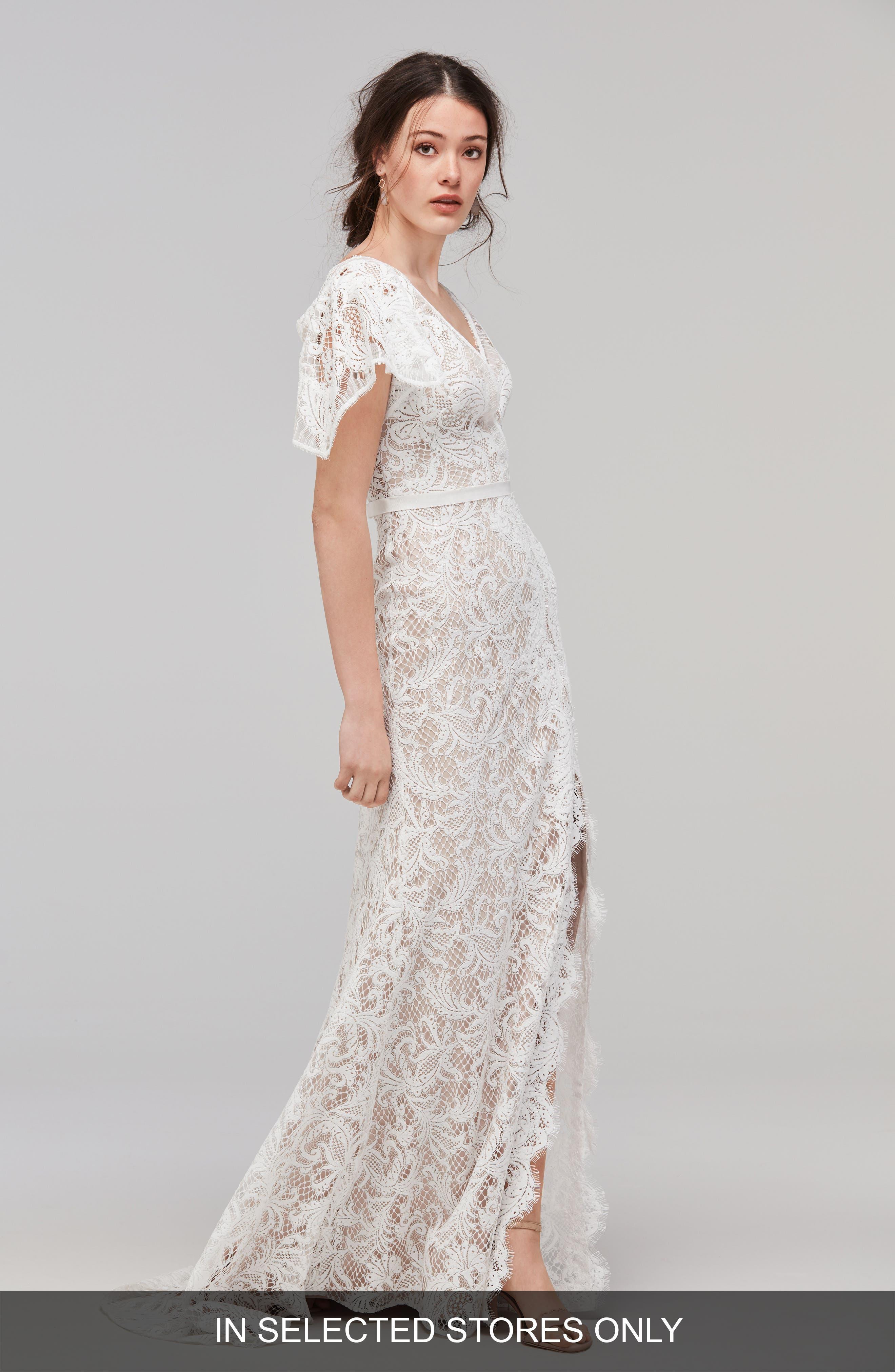 Wedding Ivory Lace Faux Wrap Dress