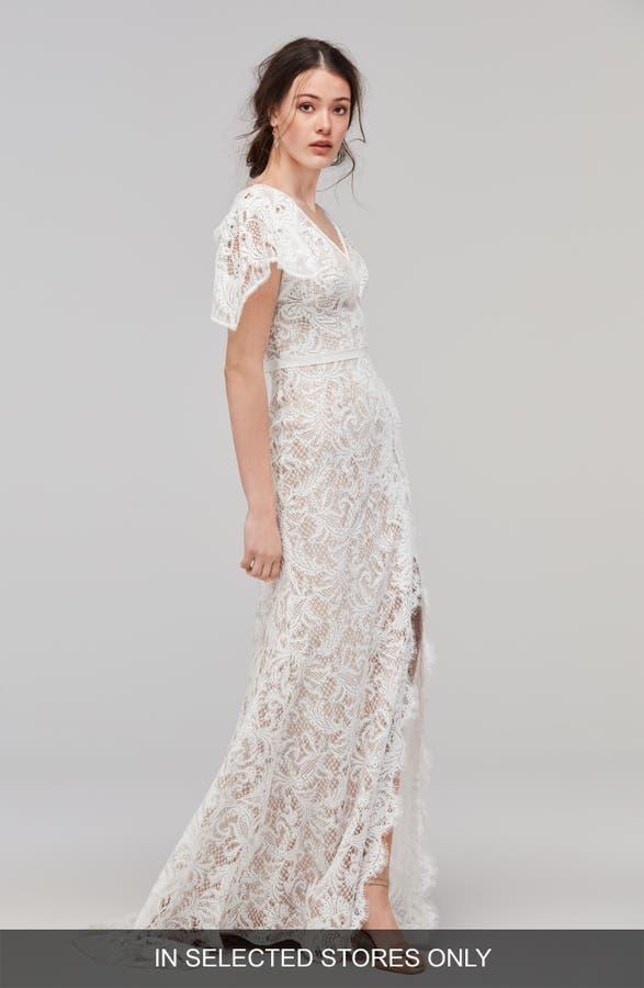 Willowby Udara Flutter Sleeve Lace Faux Wrap Gown Nordstrom - Flutter Sleeve Wedding Dress
