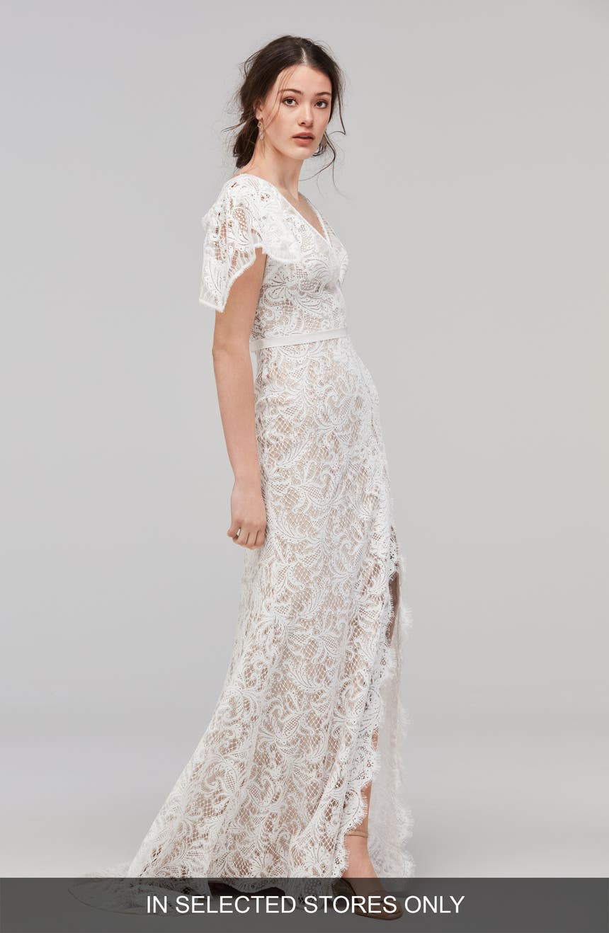Willowby Udara Flutter Sleeve Lace Faux Wrap Gown