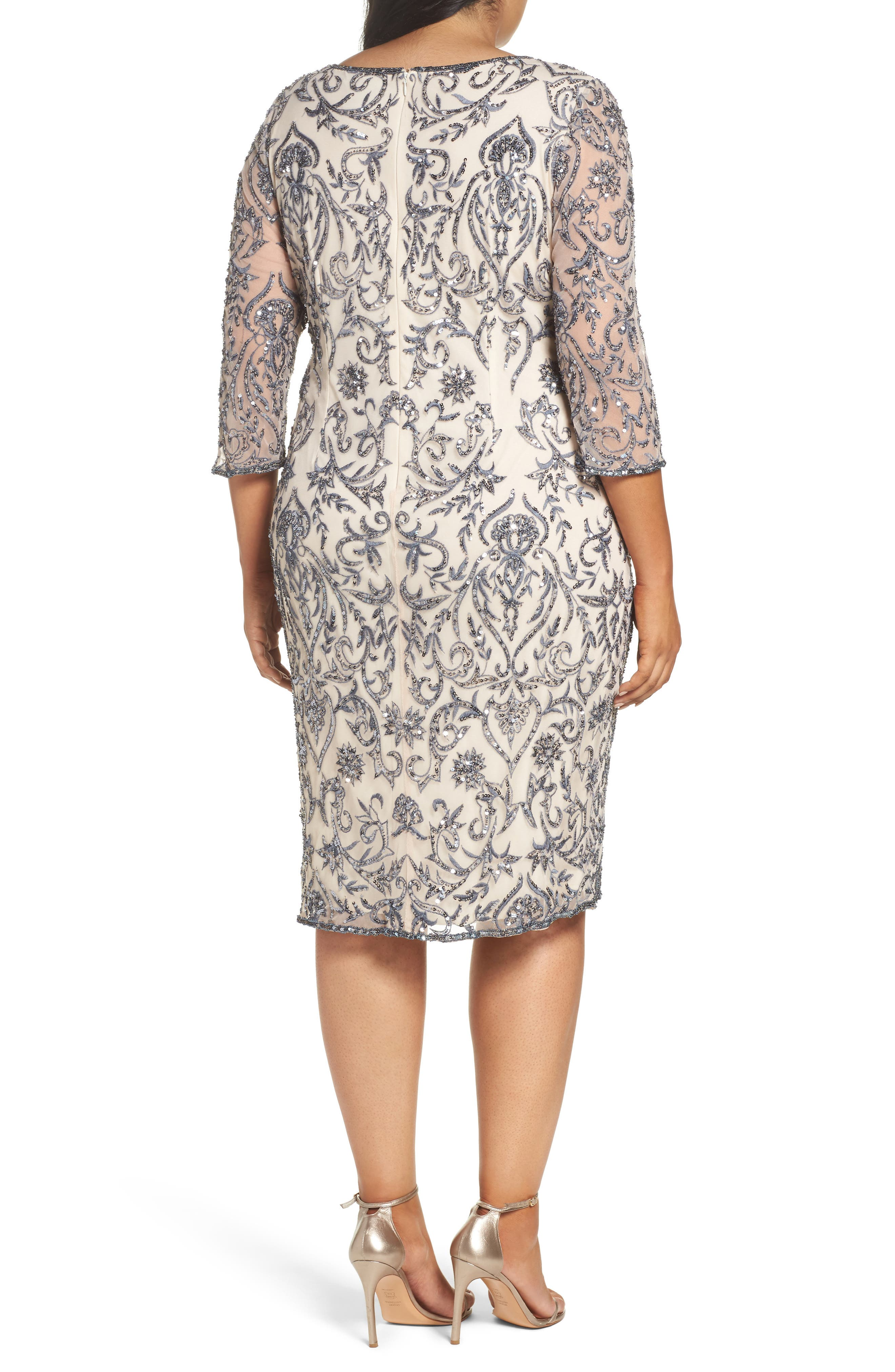 Alternate Image 2  - Pisarro Nights Sequin Embroidered Sheath Dress (Plus Size)