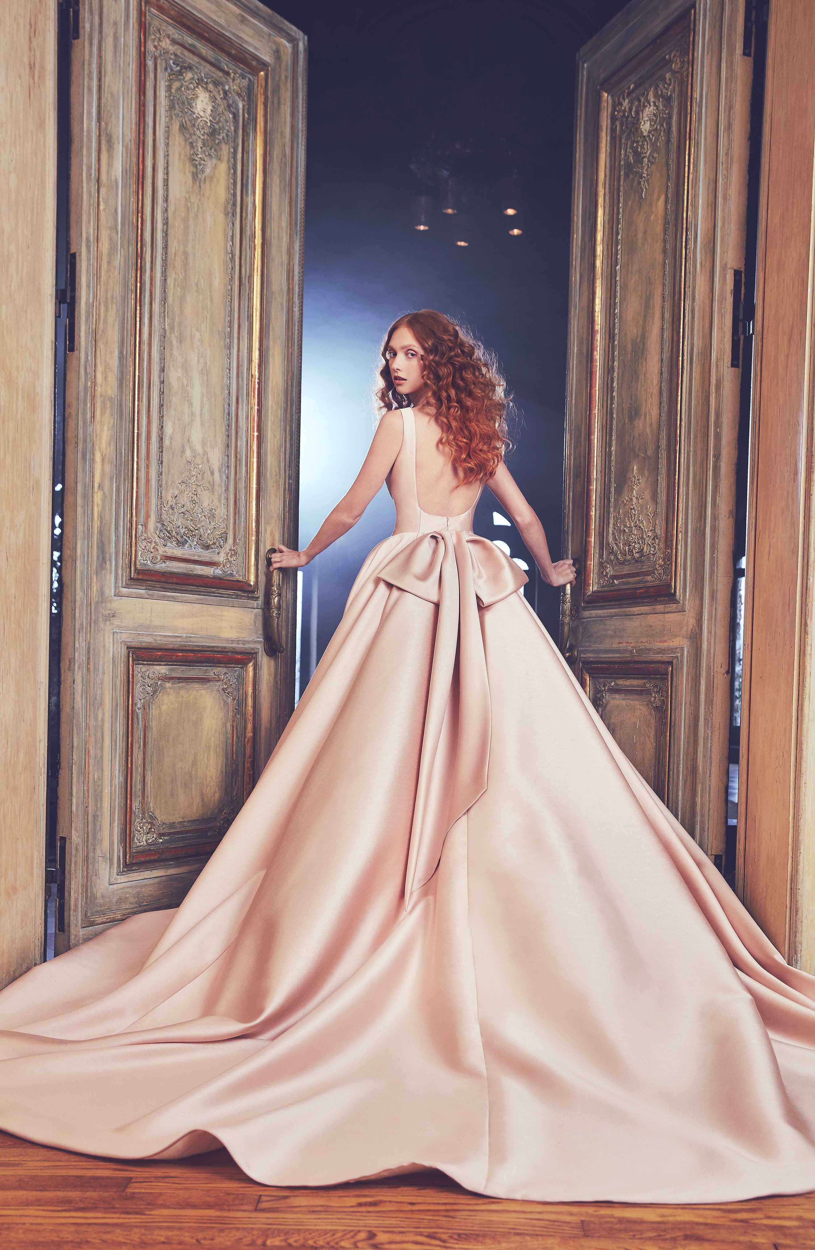 Brooklyn Bateau Neck Ballgown with Cathedral Train,                             Alternate thumbnail 2, color,                             Rose Pink