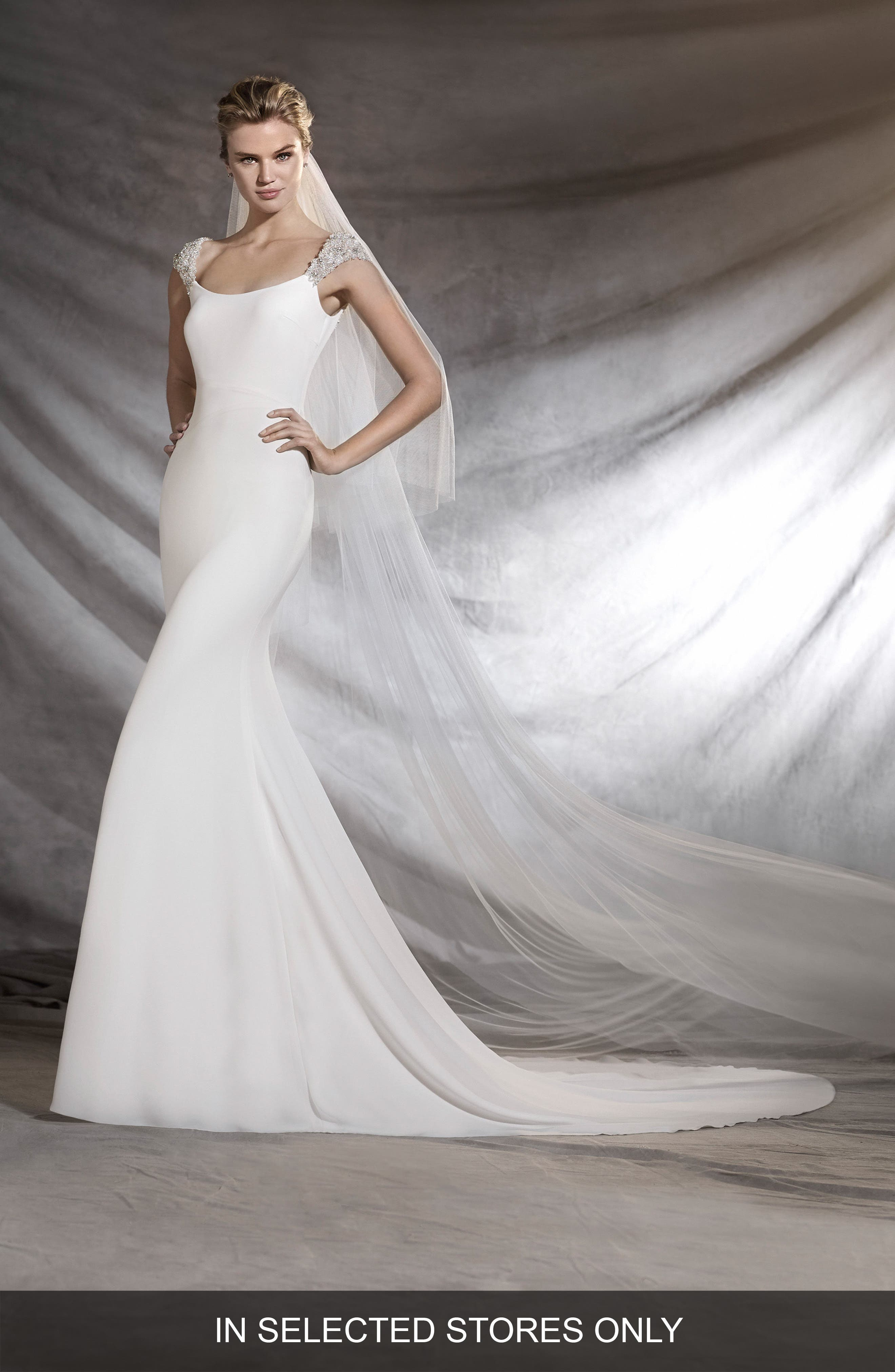 Olimpia Embellished A-Line Gown,                             Main thumbnail 1, color,                             Off White