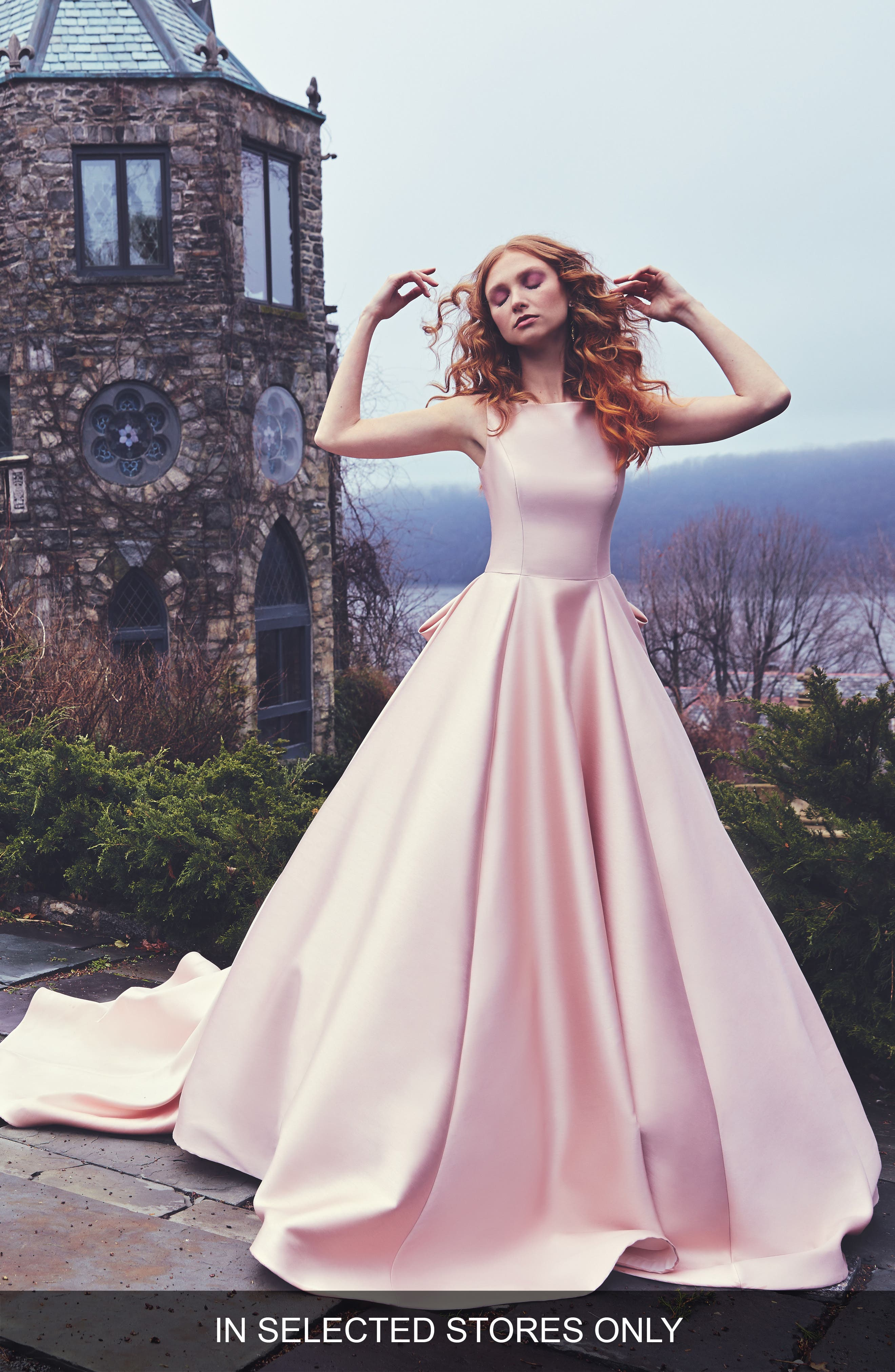 Brooklyn Bateau Neck Ballgown with Cathedral Train,                         Main,                         color, Rose Pink