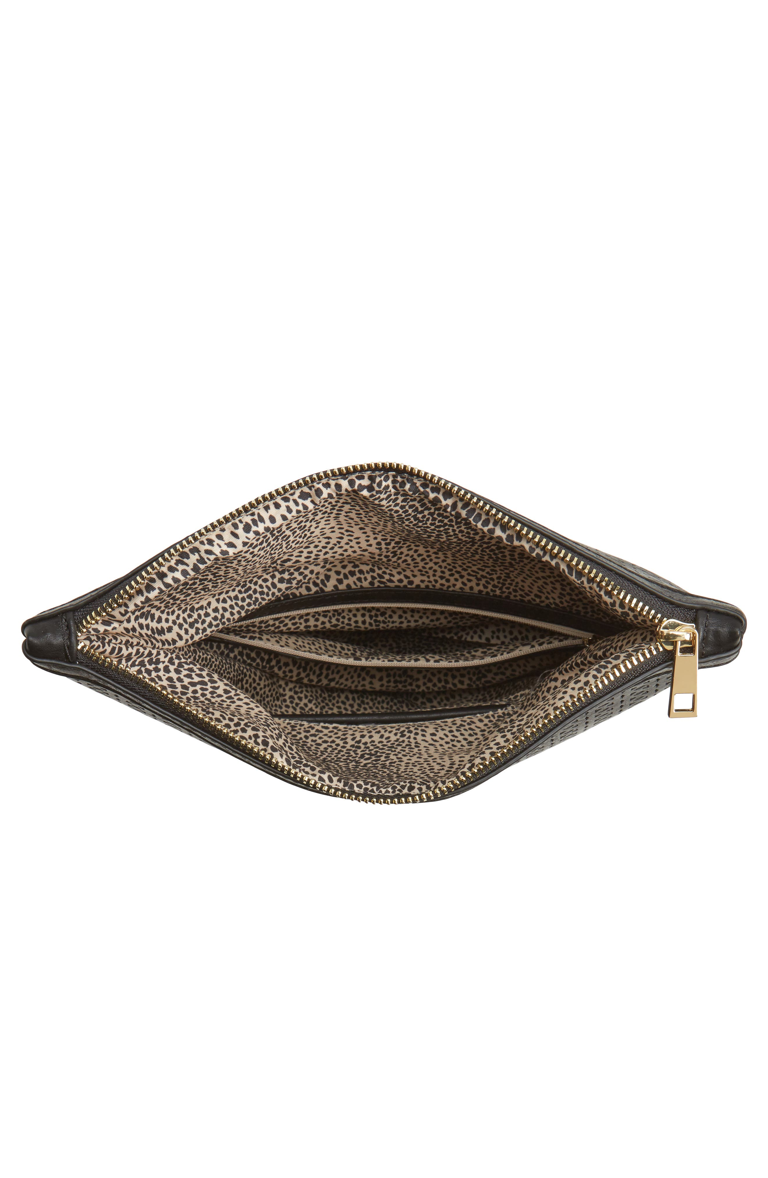 Perforated Fold Over Clutch,                             Alternate thumbnail 3, color,                             Black