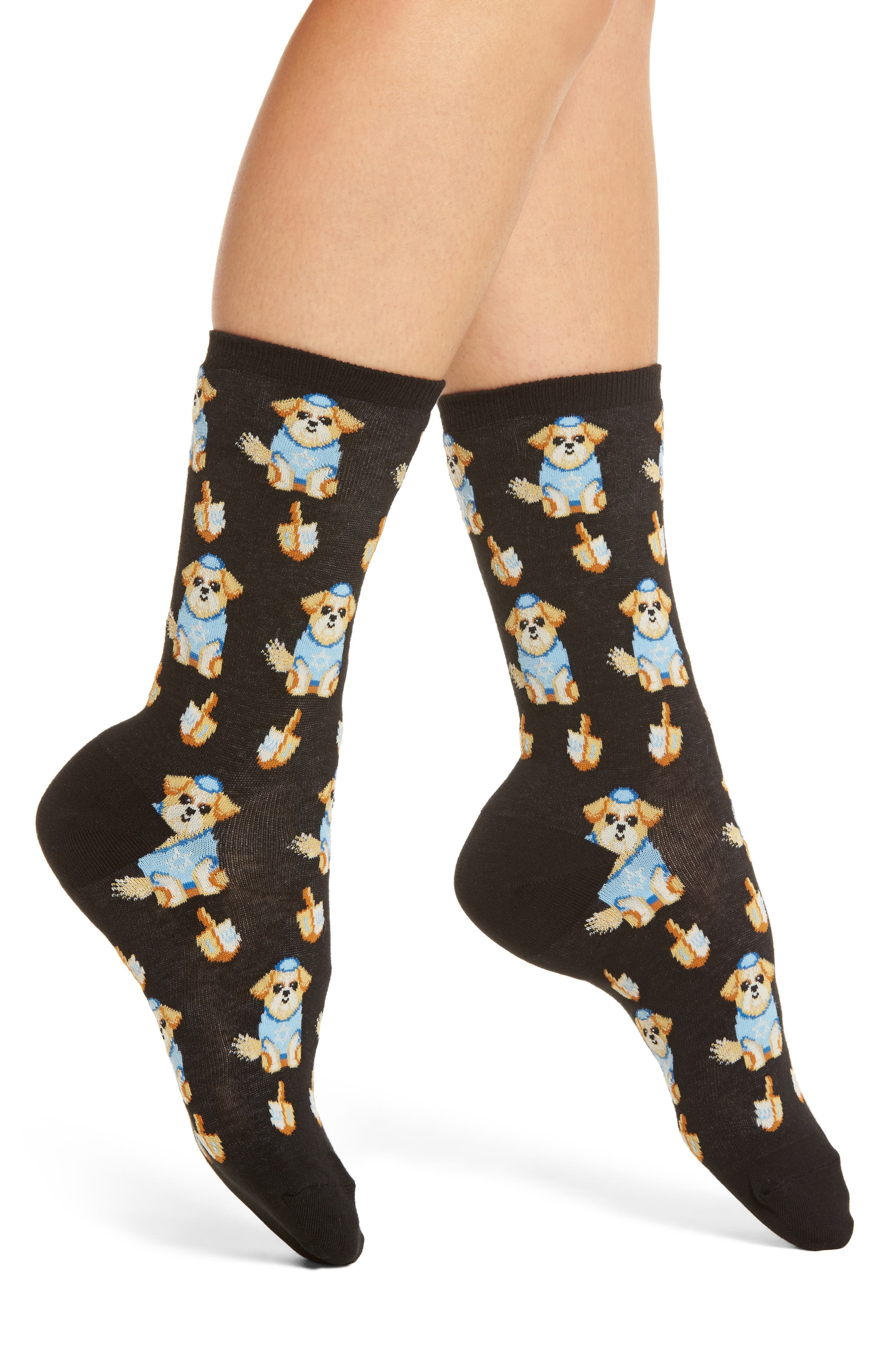 Hot Sox Dreidel Dog Crew Socks (3 for $15)