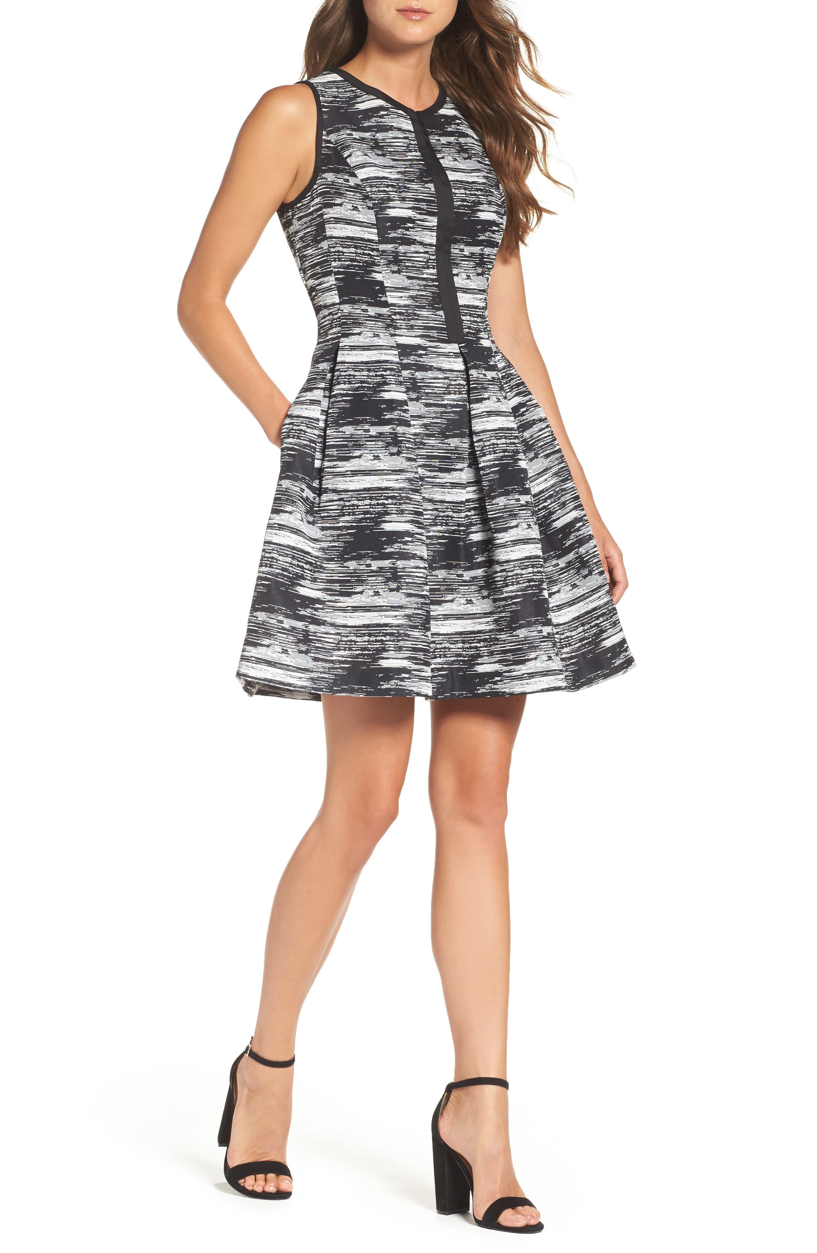 Jacquard Fit & Flare Dress,                         Main,                         color, Black Multi