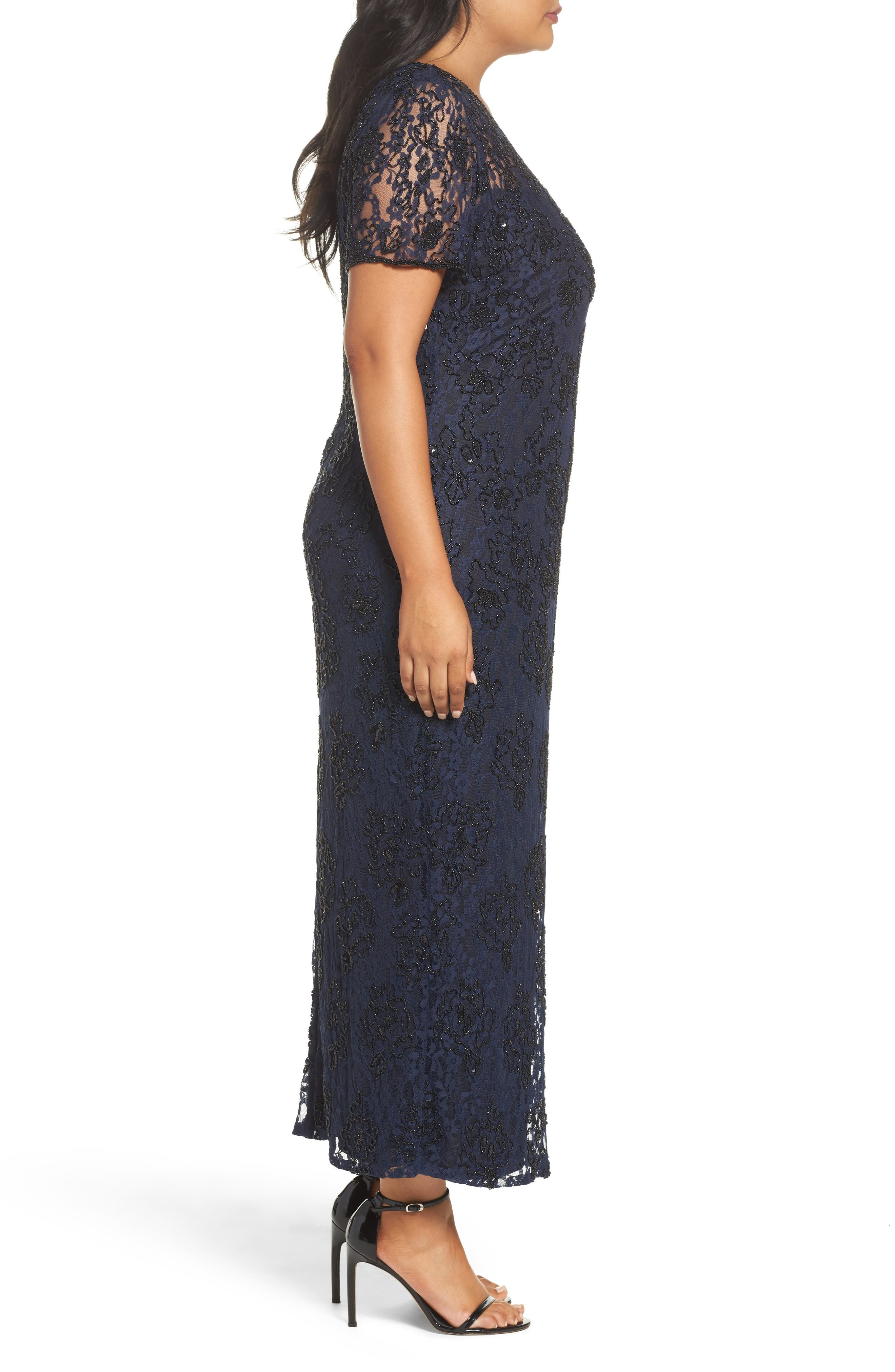 Alternate Image 3  - Pisarro Nights Beaded Lace Gown (Plus Size)
