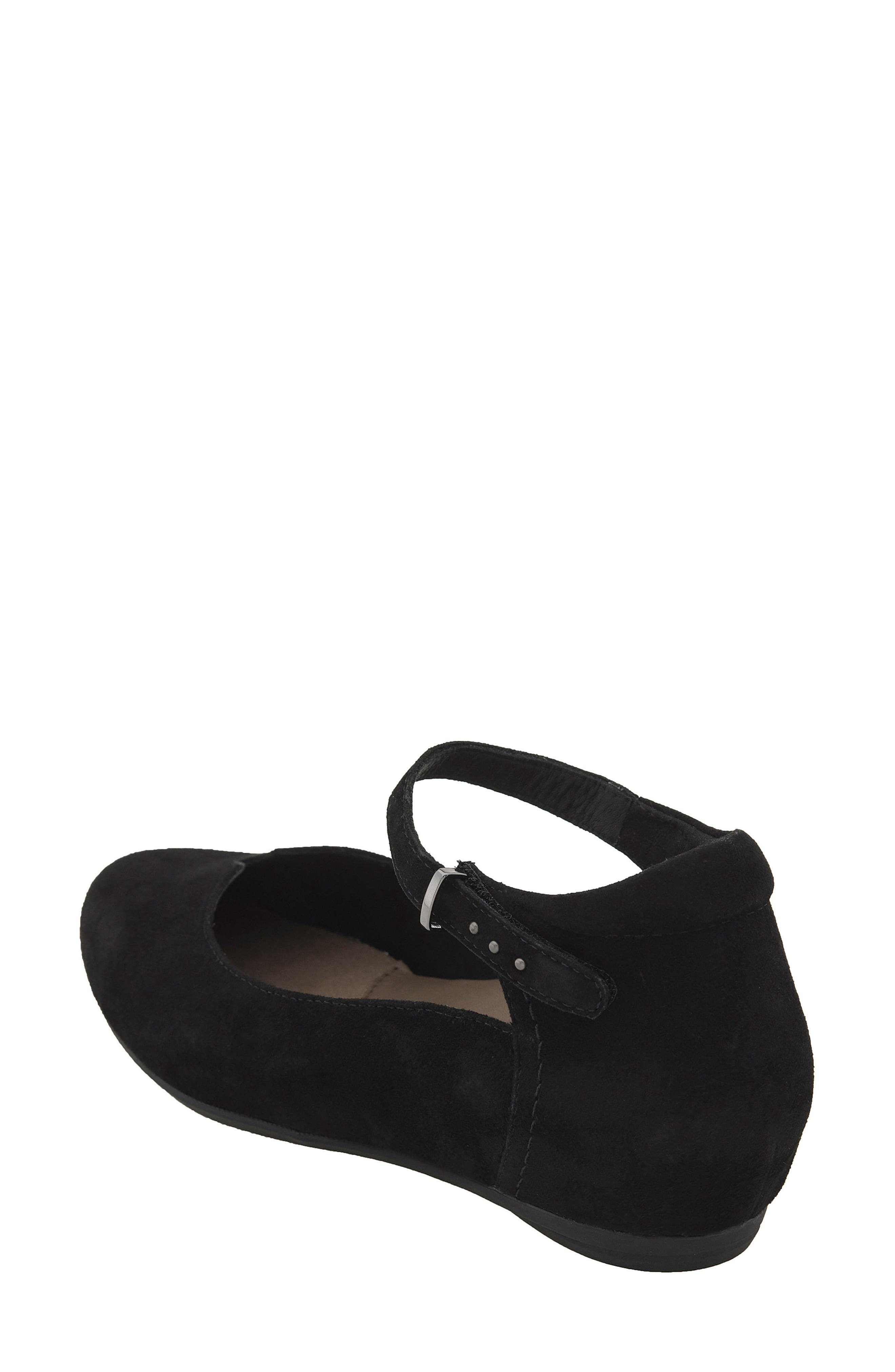 Emery Ankle Strap Flat,                             Alternate thumbnail 2, color,                             Black Suede