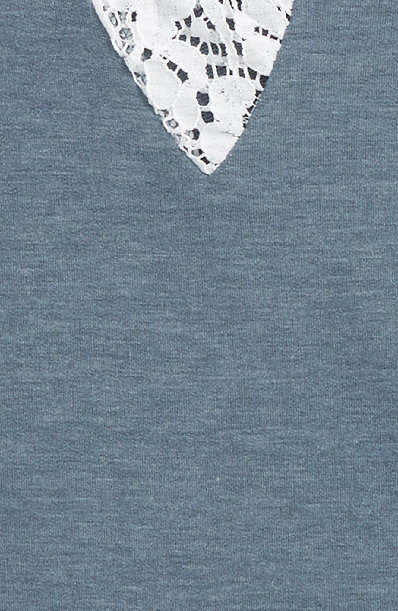 Alternate Image 2  - Good Luck Gem Lace Inset Sweatshirt (Big Girls)
