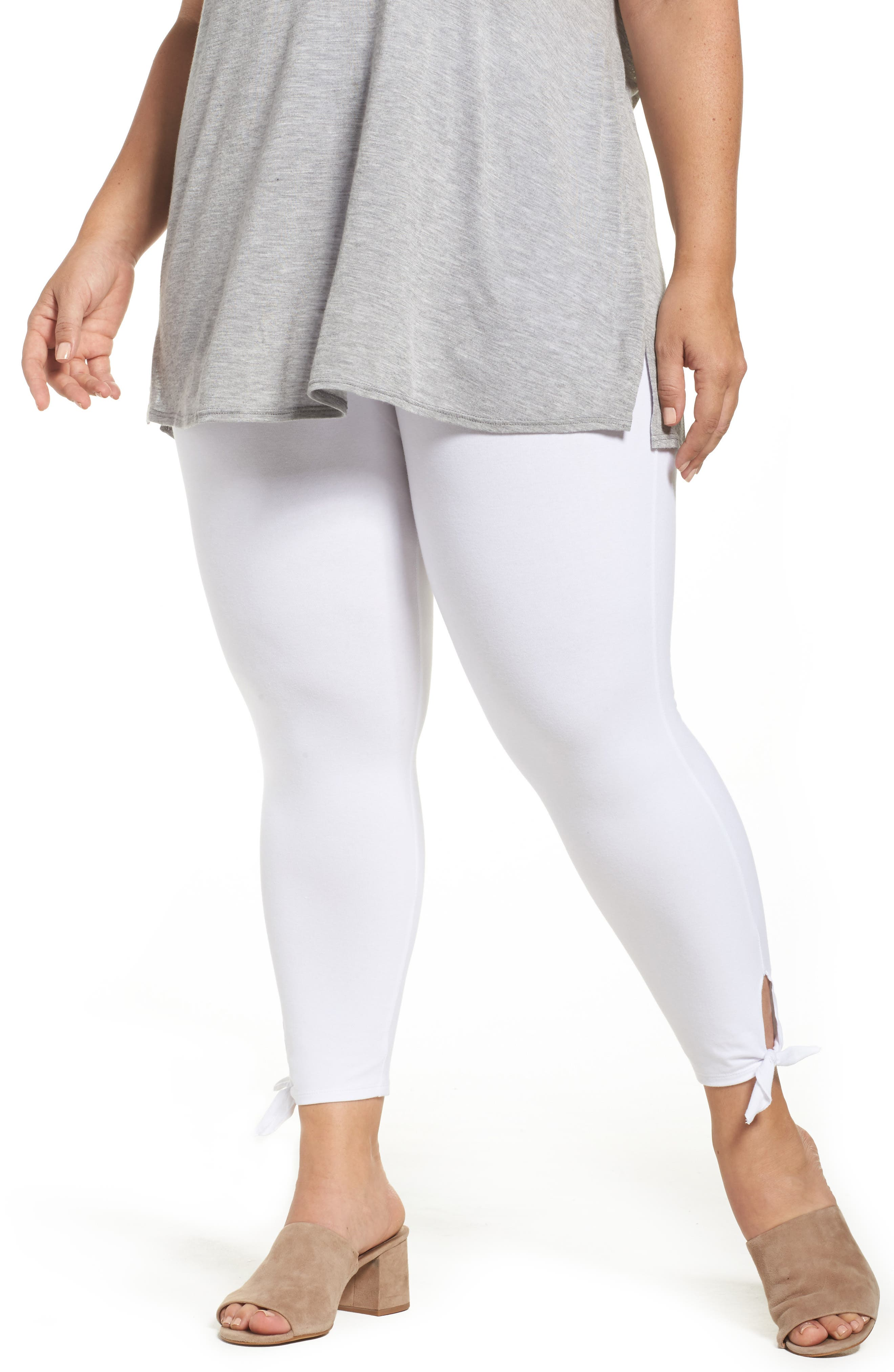 Tie Crop Leggings,                         Main,                         color, White