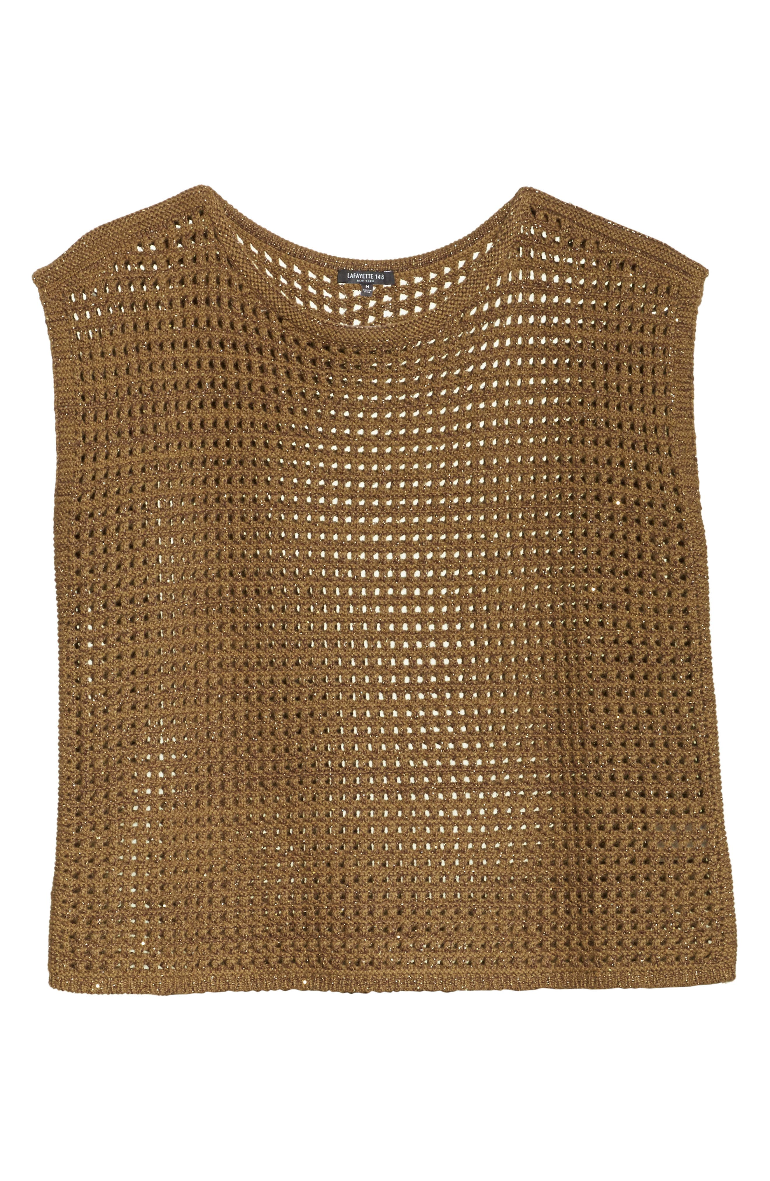 Cashmere Open Stitch Sequin Sweater,                             Alternate thumbnail 6, color,                             Sequoia Metallic