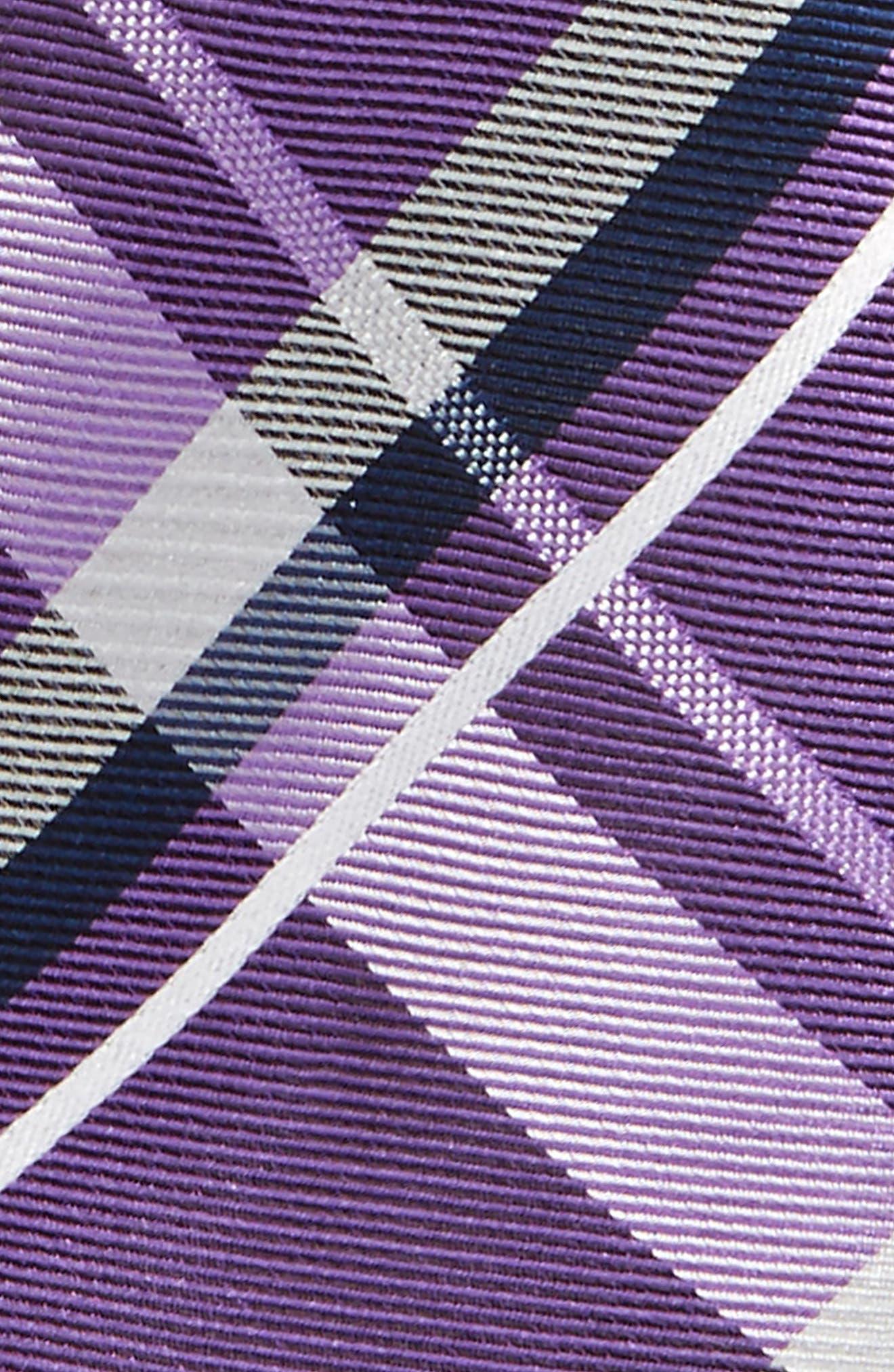 Check Silk Tie,                             Alternate thumbnail 2, color,                             Purple