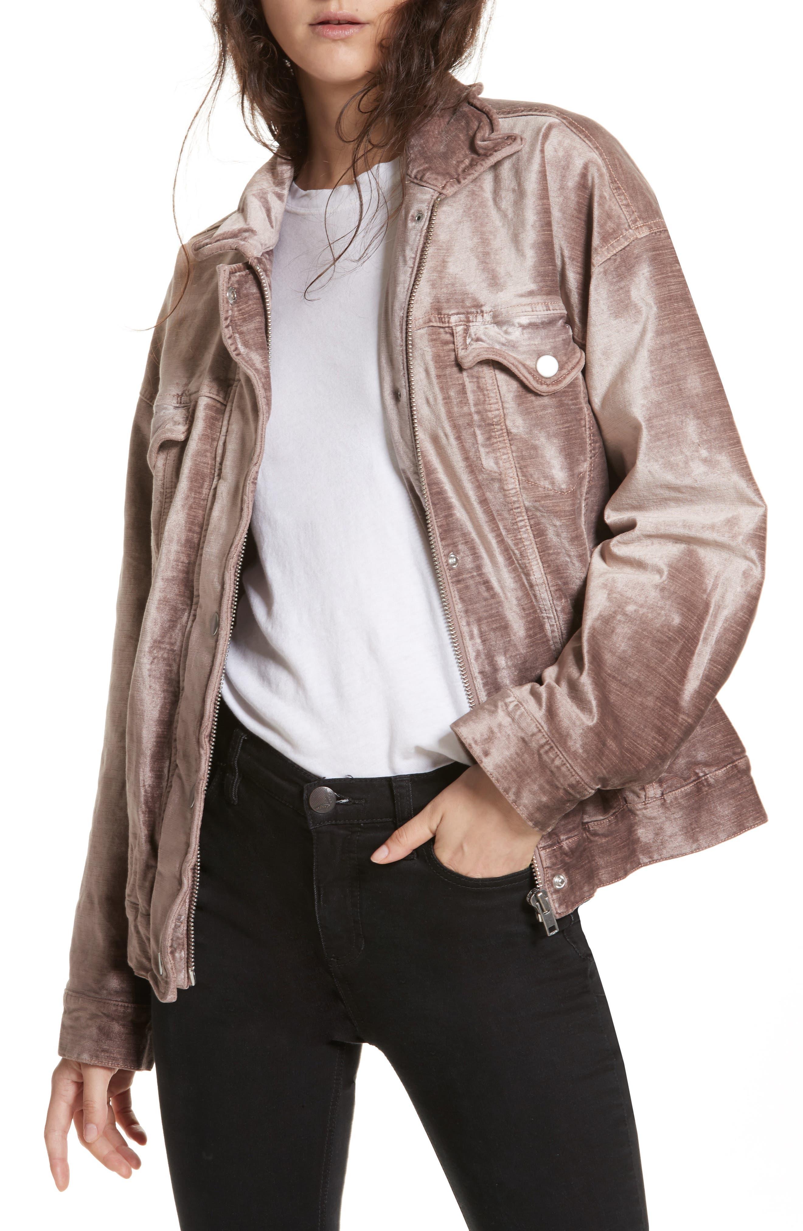 Velvet Trucker Jacket,                         Main,                         color, Mauve