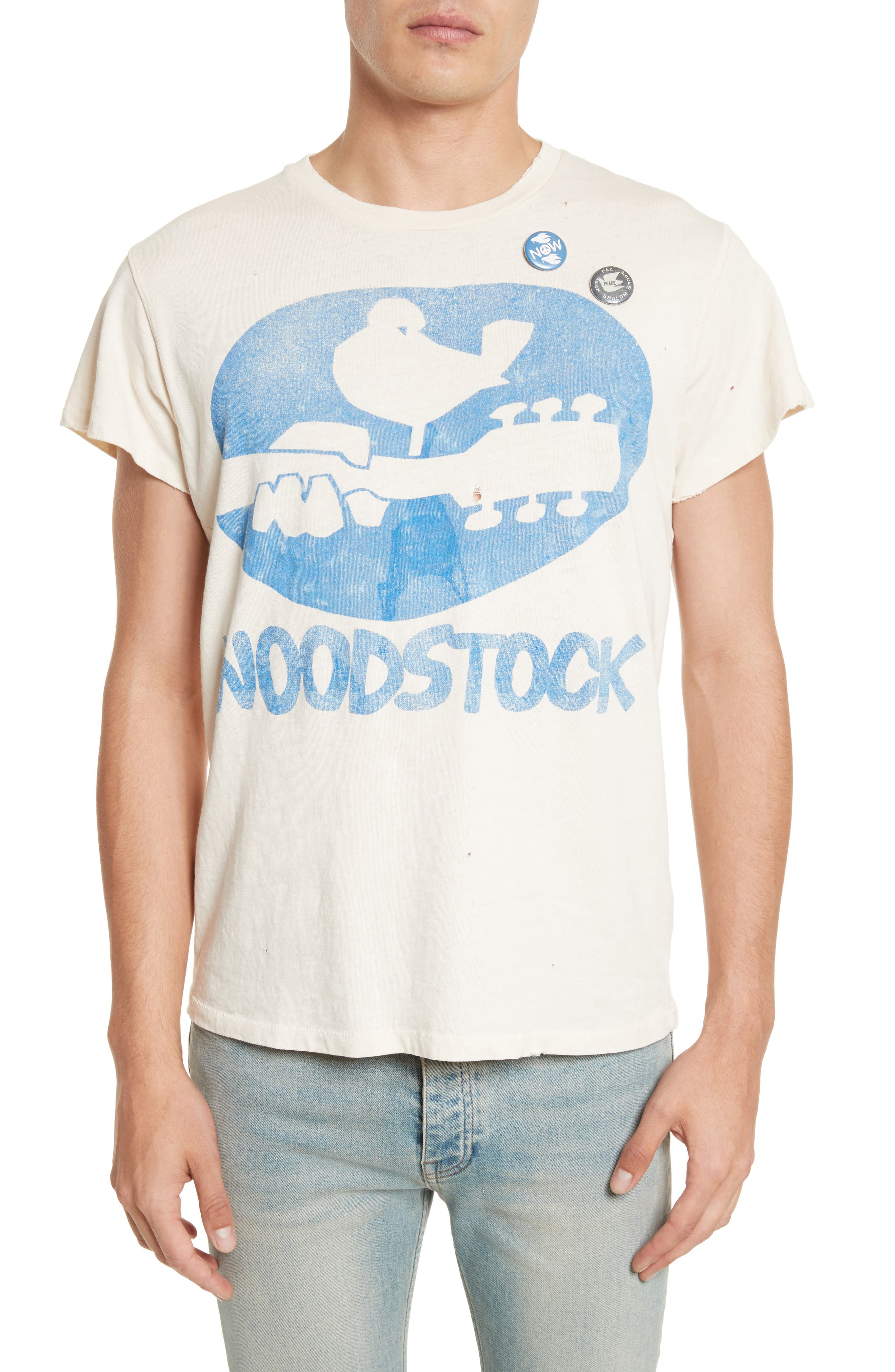 Woodstock Graphic T-Shirt with Badges,                             Main thumbnail 1, color,                             Dirty White