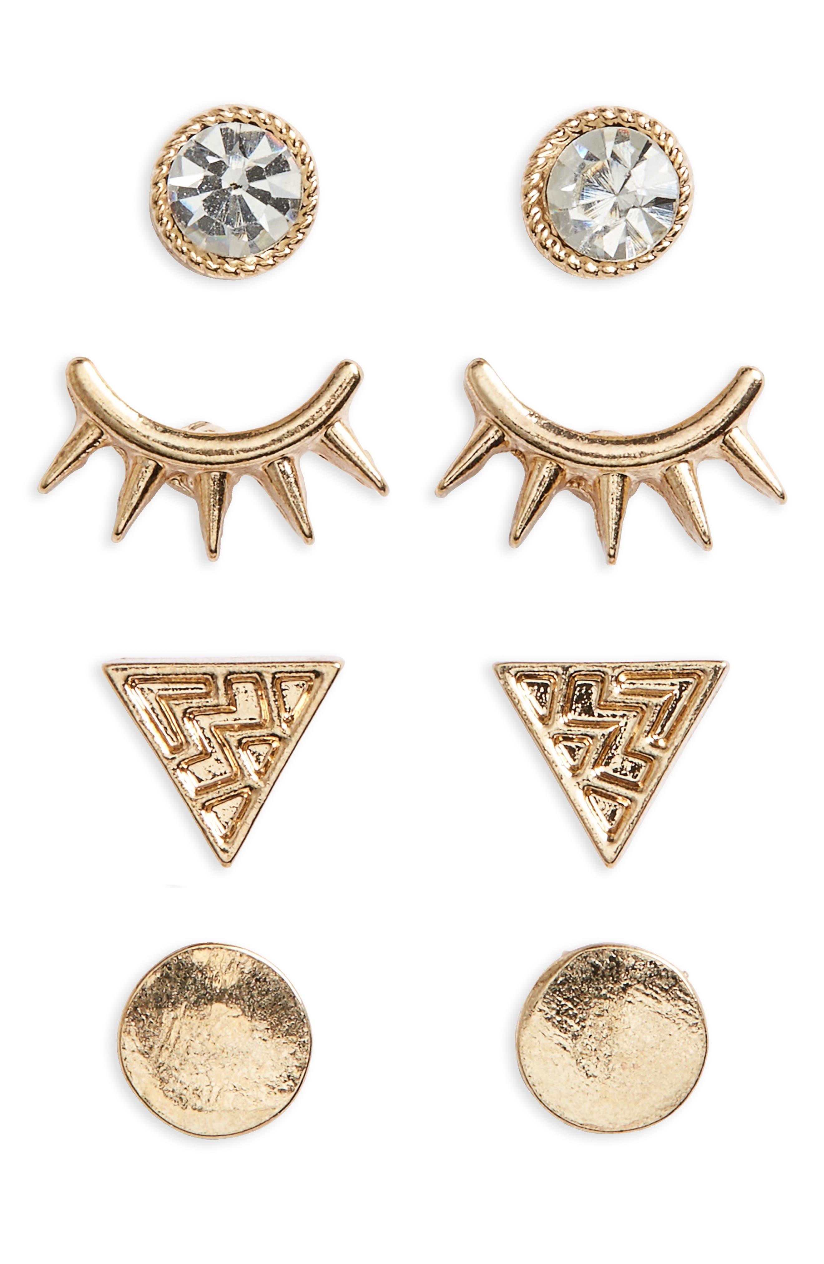 Set of 4 Stud Earrings,                             Main thumbnail 1, color,                             Gold/ Crystal