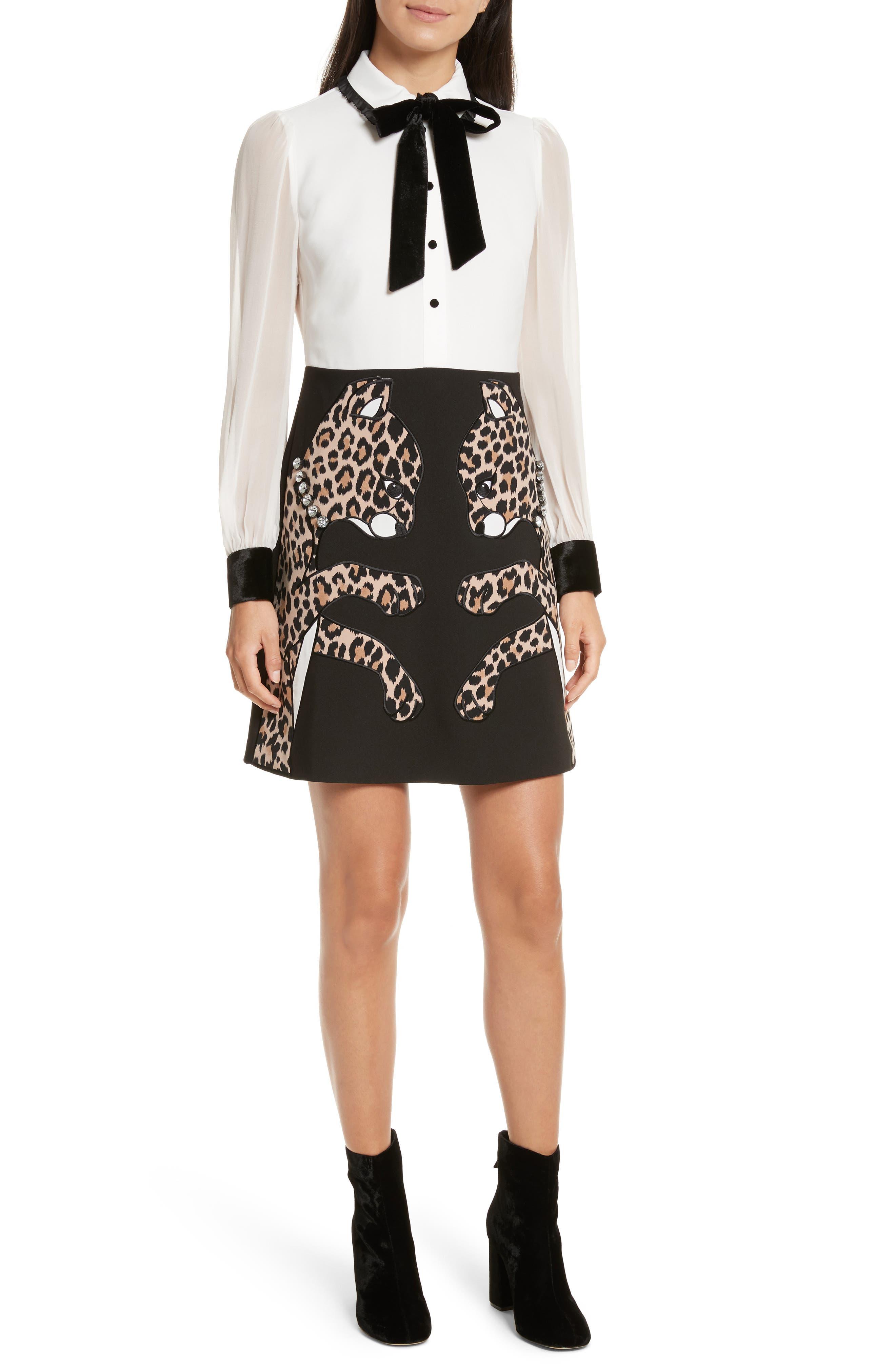 leopard appliqué shirtdress,                         Main,                         color, Black
