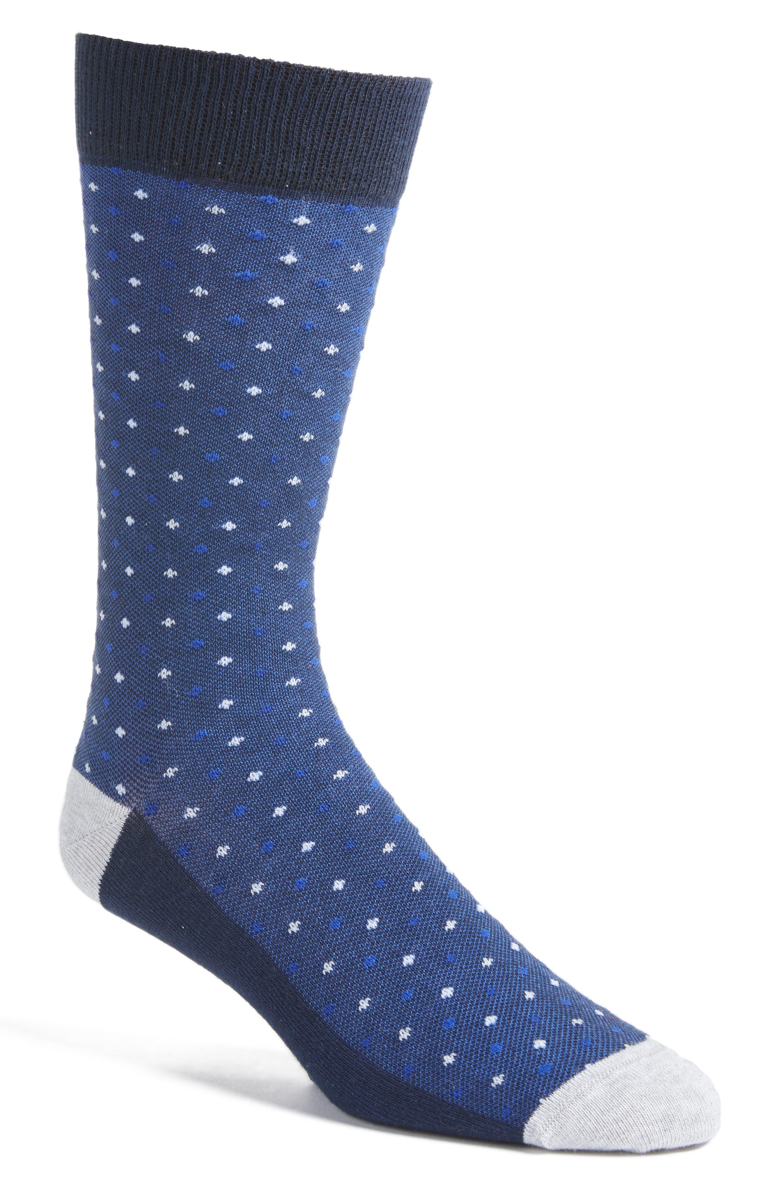 Bird's Eye Crew Socks,                         Main,                         color, Blue