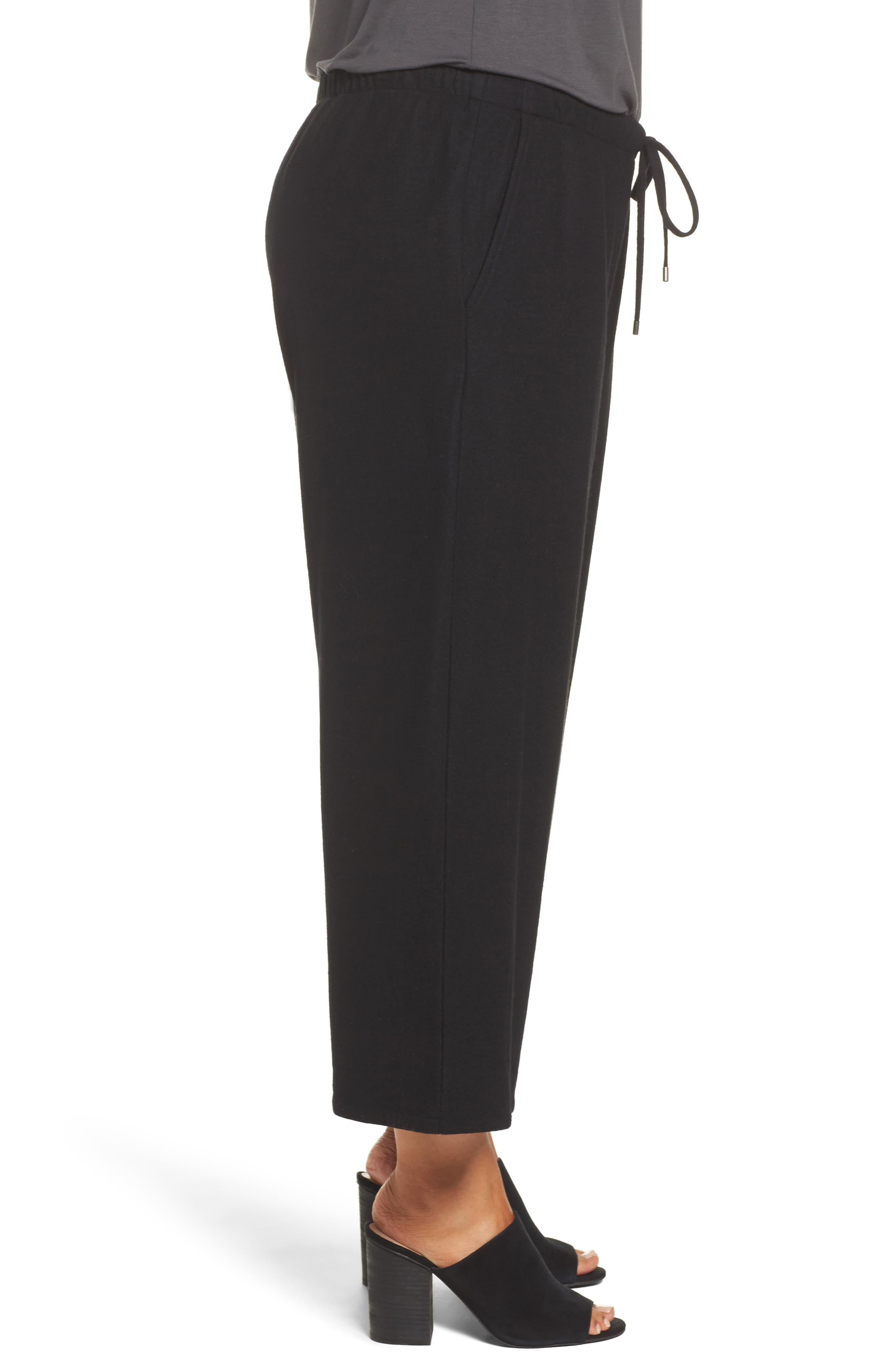 Alternate Image 3  - Eileen Fisher Wide Leg Drawstring Wool Pants (Plus Size)