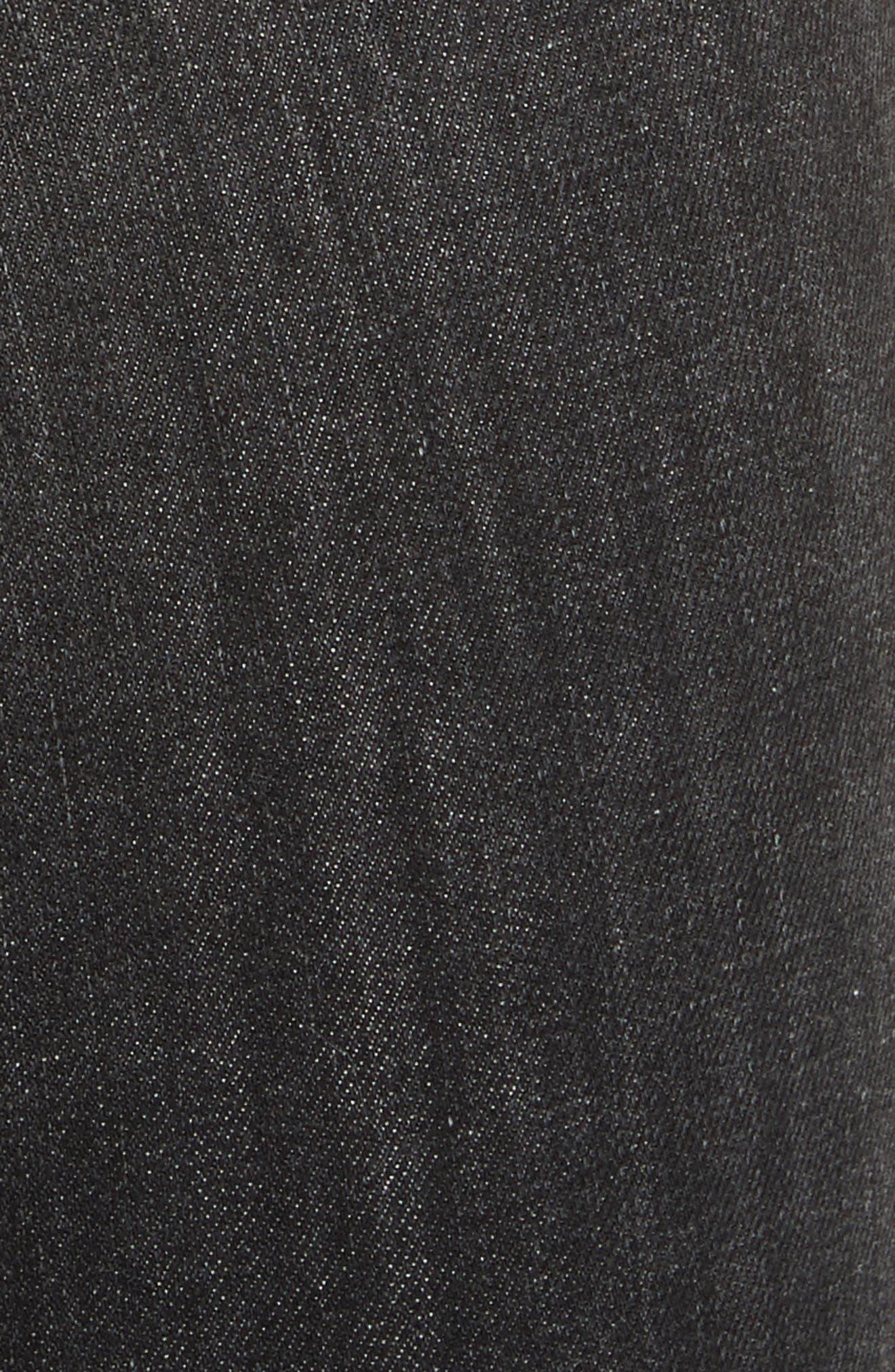 High Waist Ankle Skinny Jeans,                             Alternate thumbnail 5, color,                             Black Lock