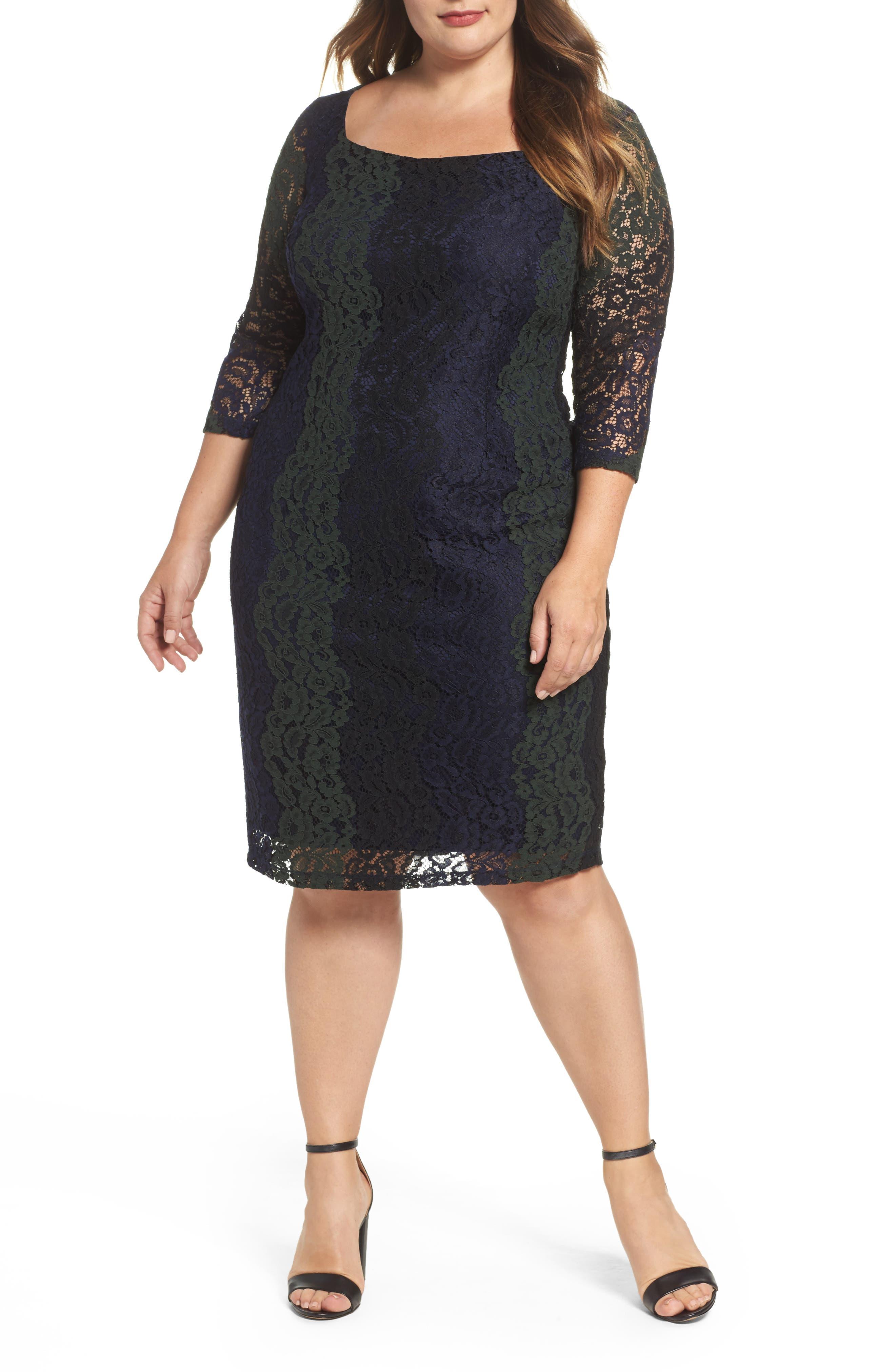 Main Image - Sangria Colorblock Lace Sheath Lace (Plus Size)