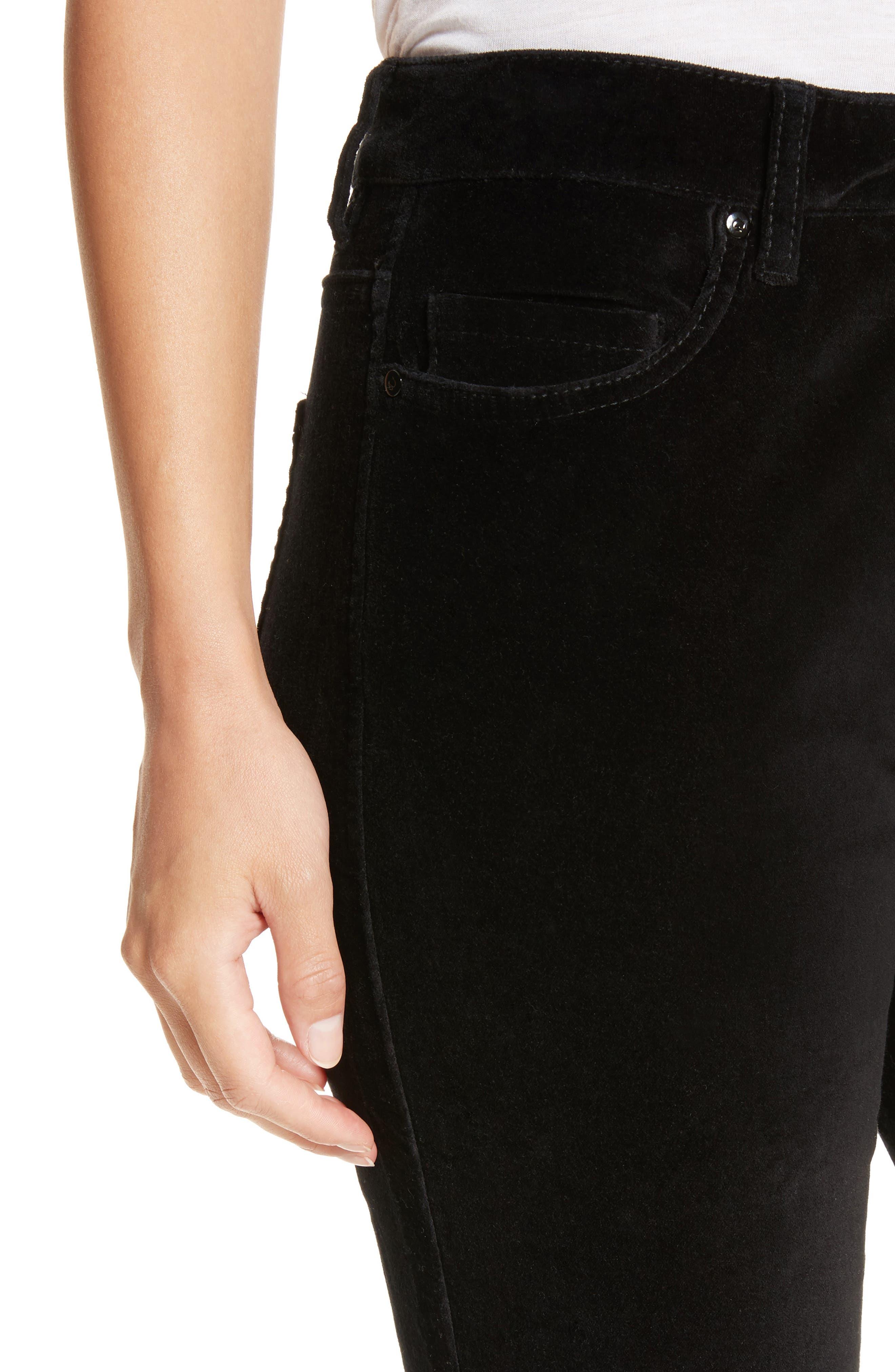 stretch velveteen ankle pants,                             Alternate thumbnail 4, color,                             Black
