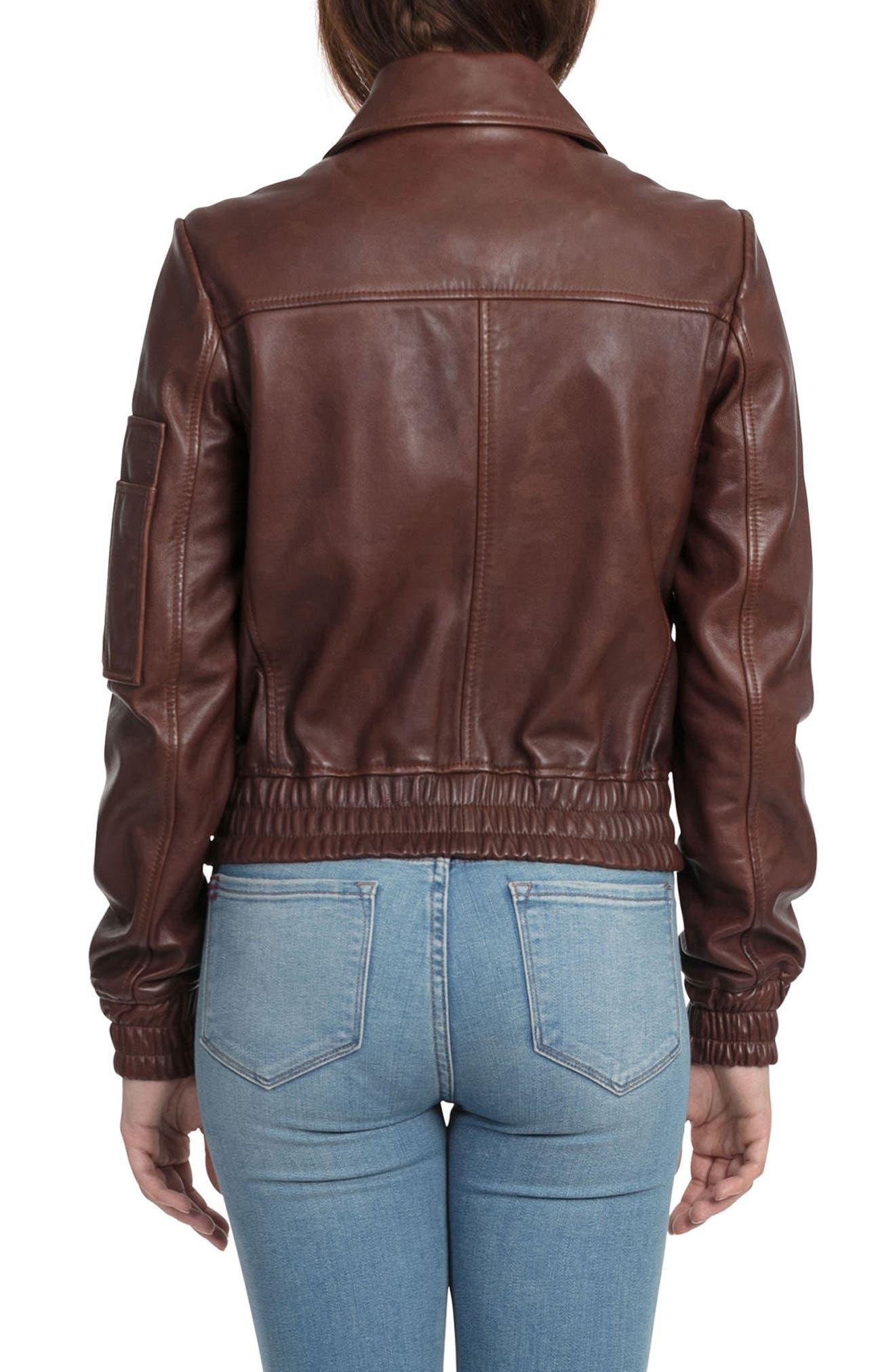 BAGATELLE.CITY The Aviator Leather Jacket,                             Alternate thumbnail 2, color,                             Mahogany