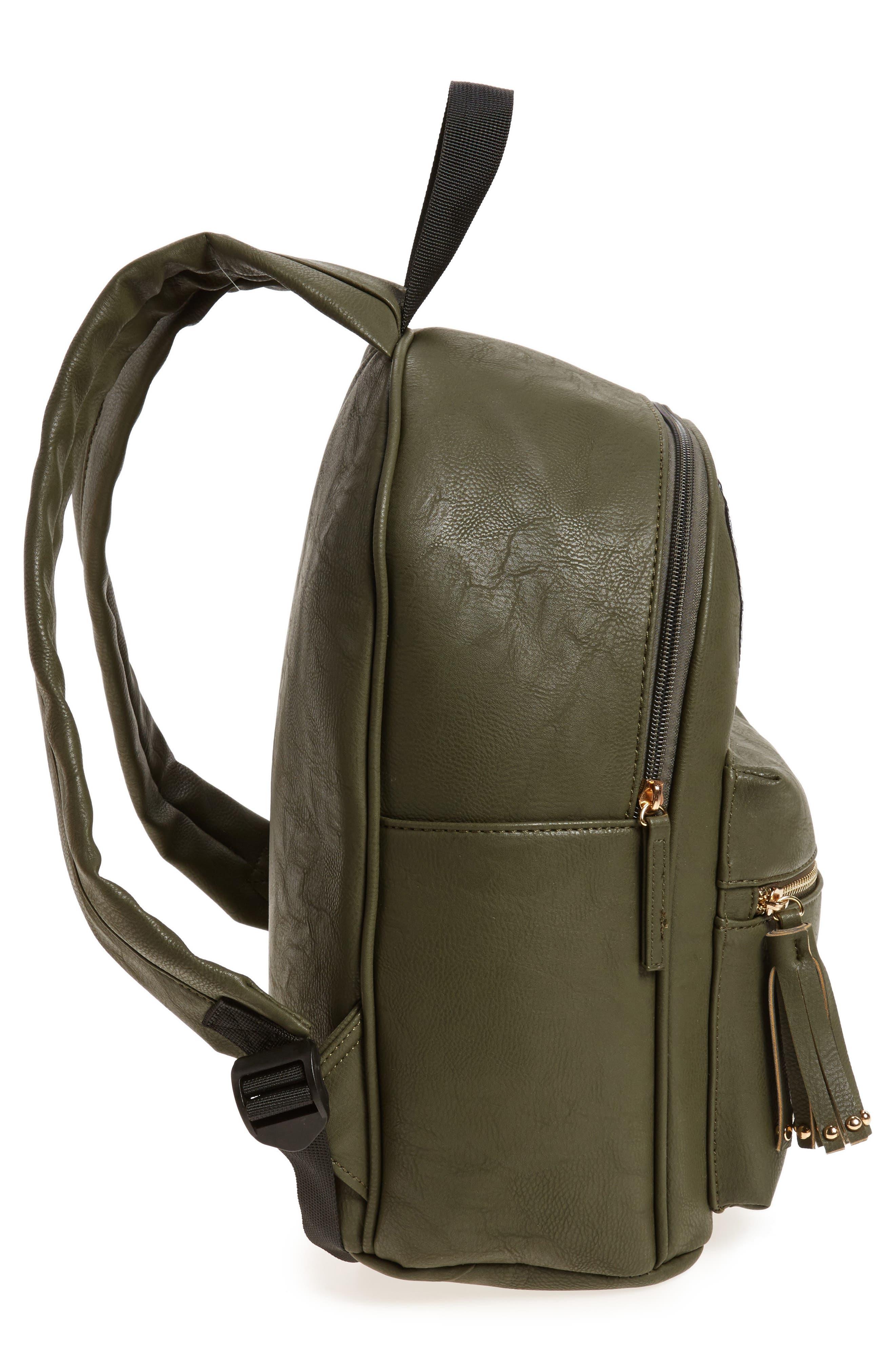 Sequin Rose Appliqué Faux Leather Backpack,                             Alternate thumbnail 2, color,                             Olive