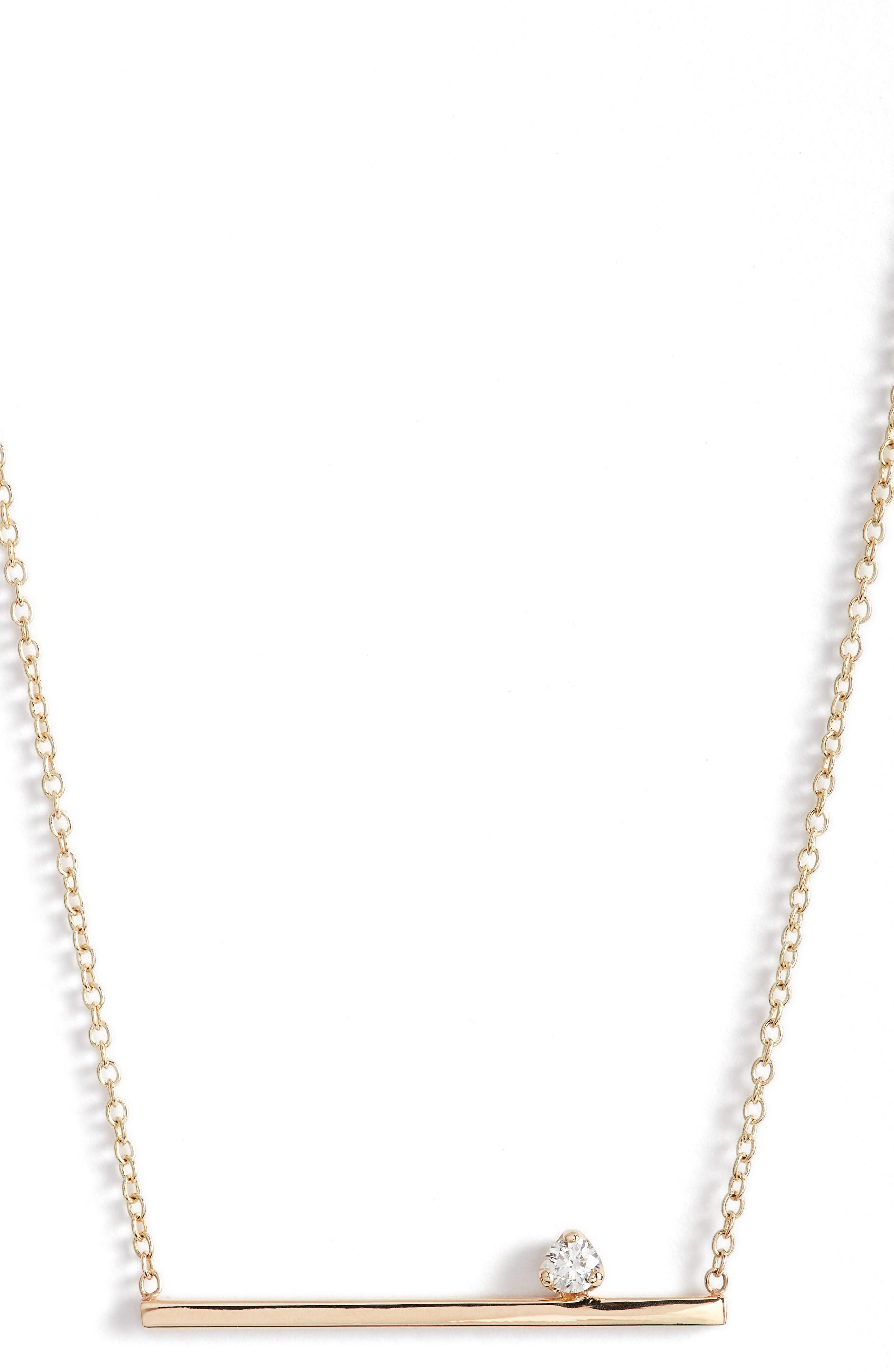Floating Diamond Pendant Necklace,                             Alternate thumbnail 2, color,                             Yellow Gold