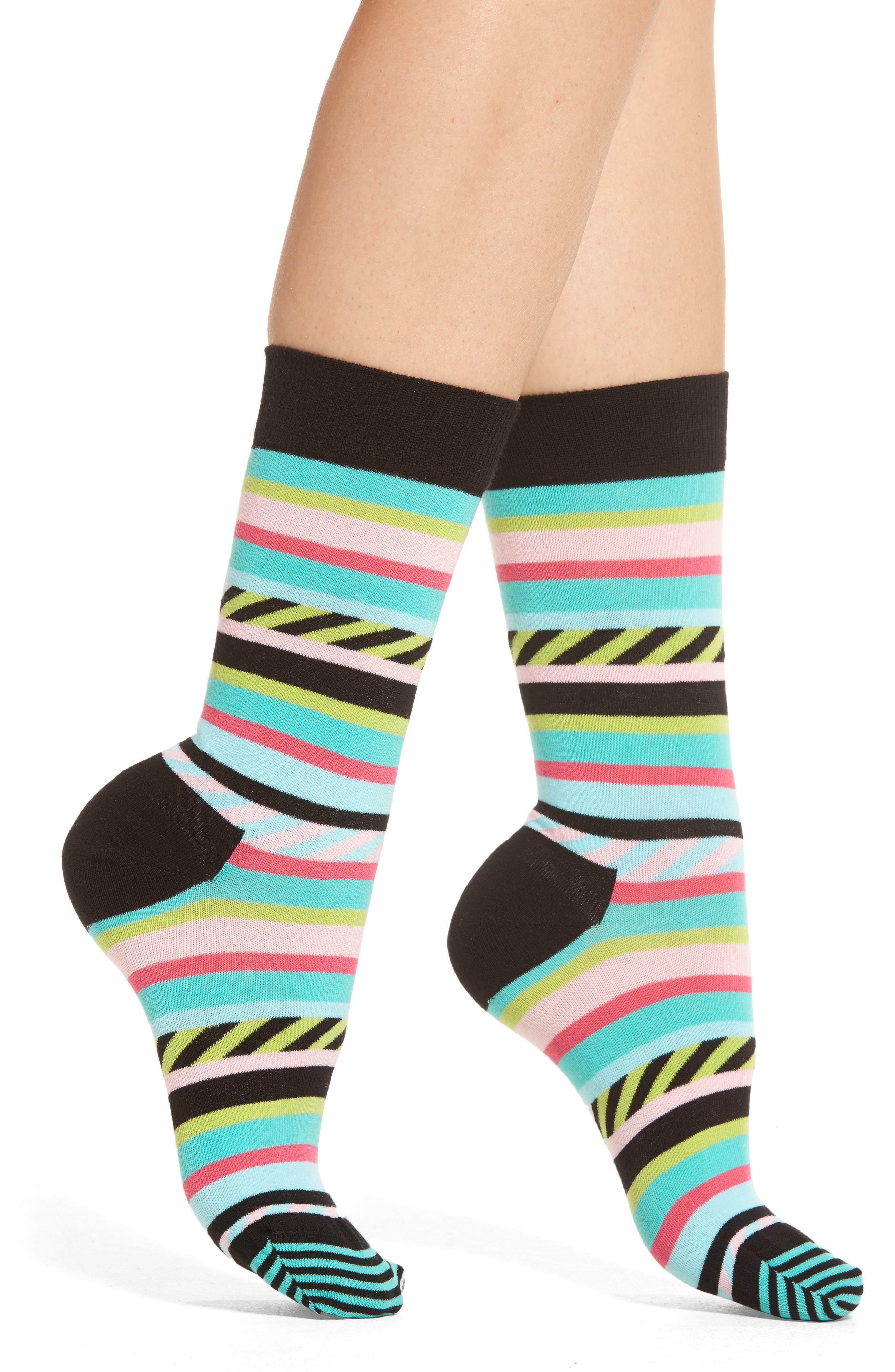 Main Image - Happy Socks Stripes & Stripes Crew Socks (3 for $24.00)