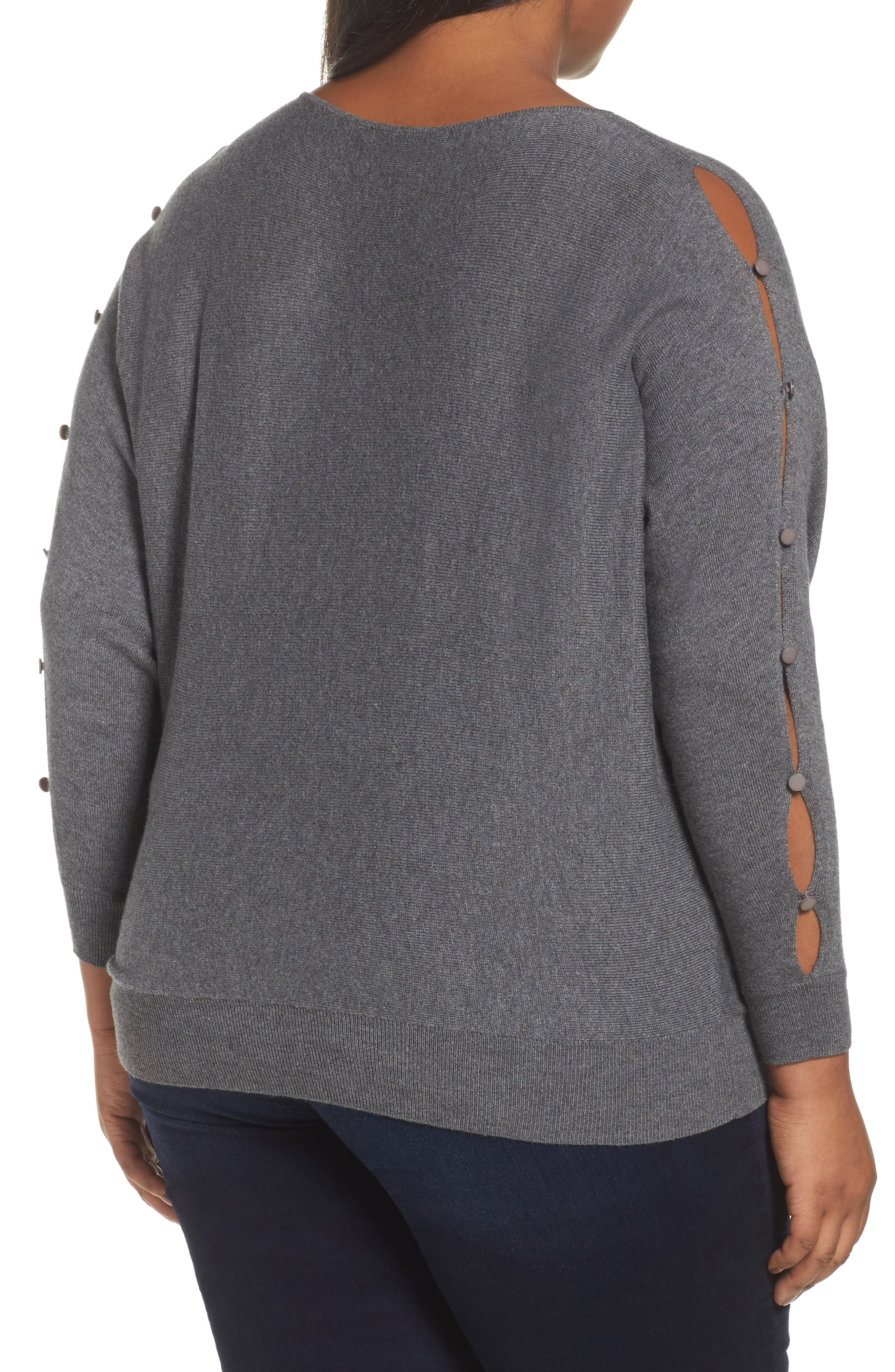 Alternate Image 2  - Sejour Button Sleeve Sweater (Plus Size)