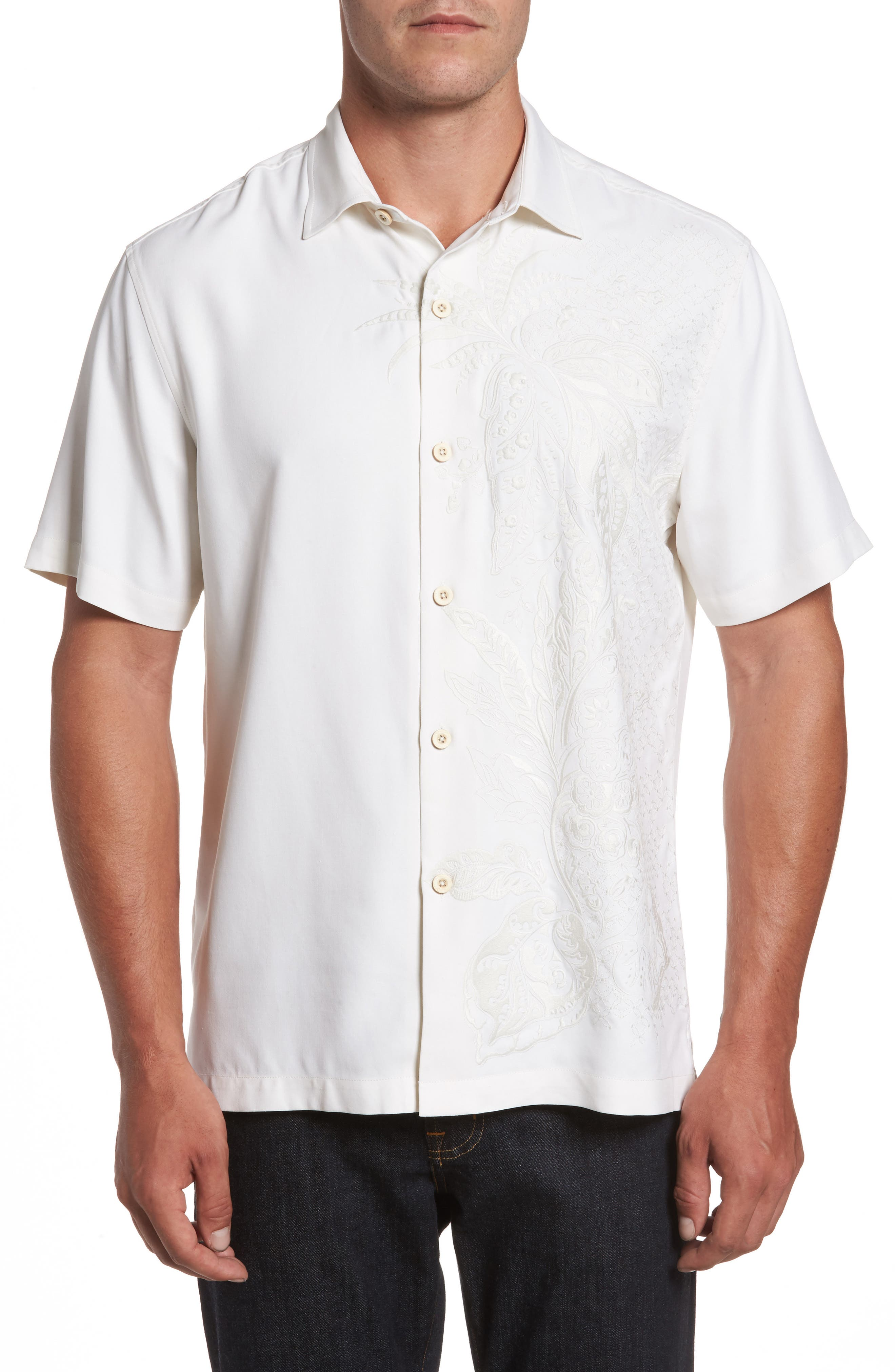 Main Image - Tommy Bahama Get Me to the Beach on Time Silk Camp Shirt