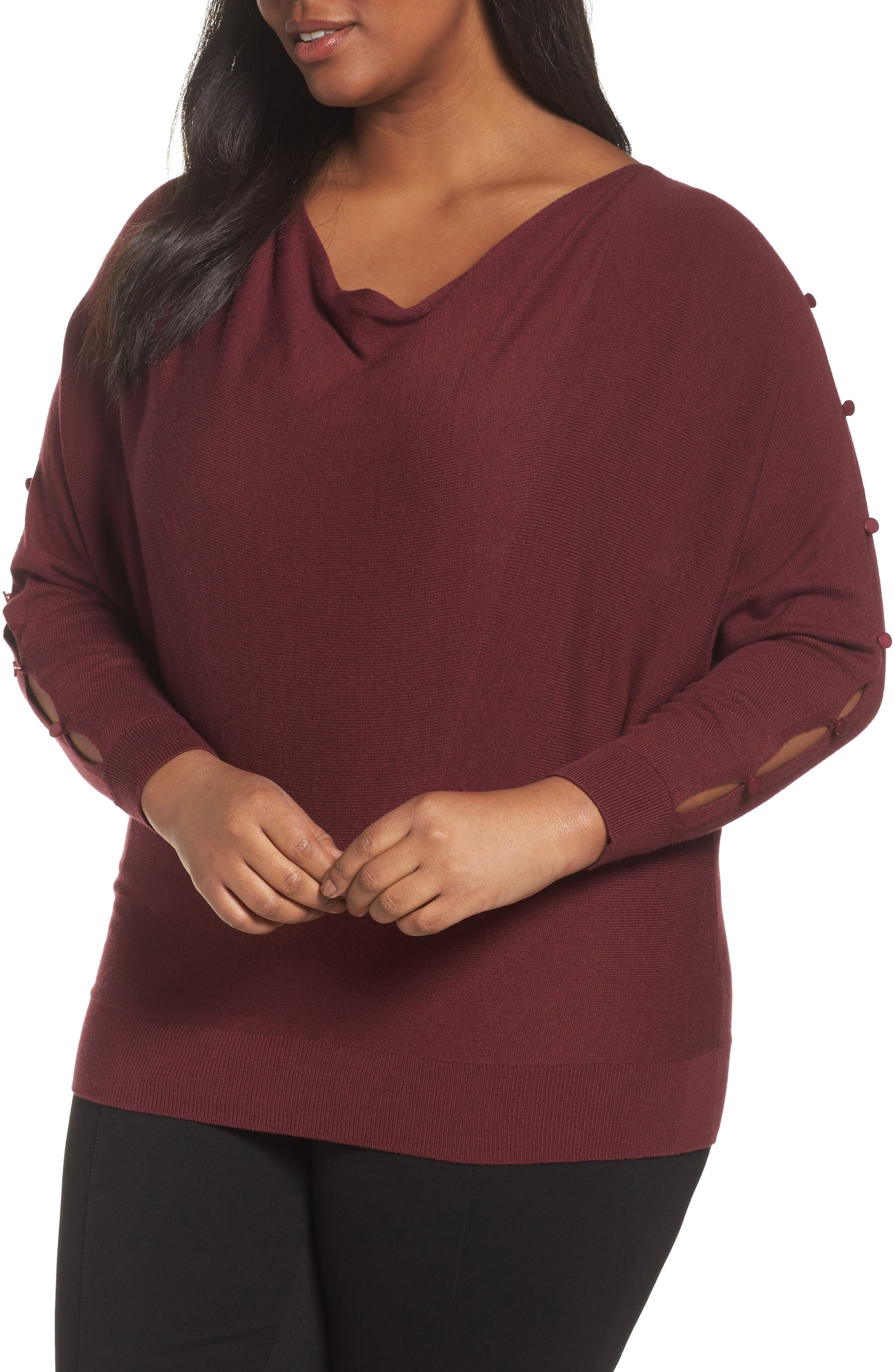 Sejour Button Sleeve Sweater (Plus Size)