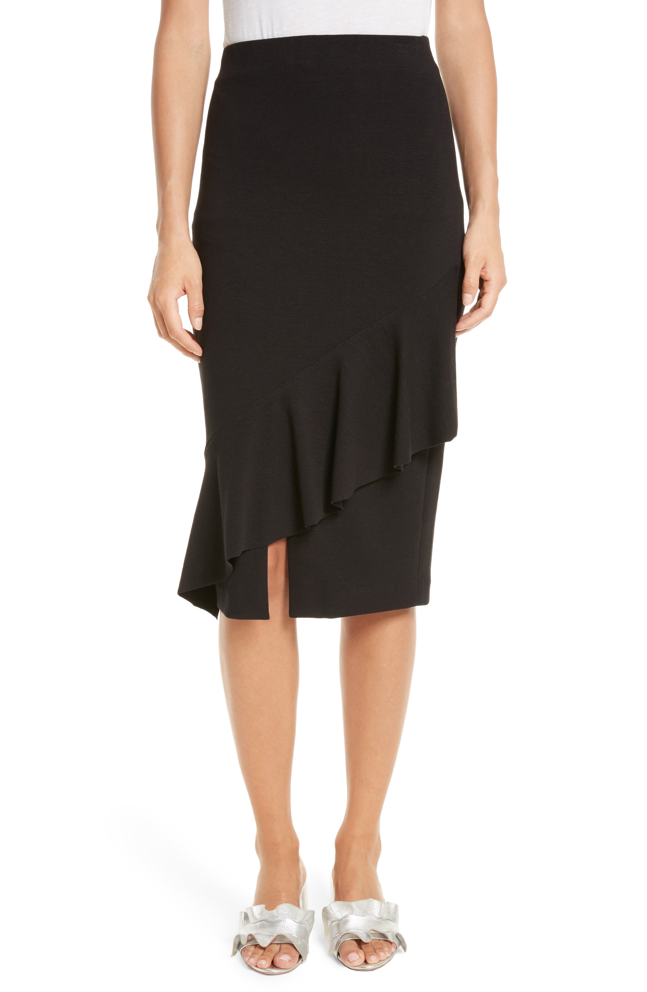 Three-Vent Skirt,                             Main thumbnail 1, color,                             Black