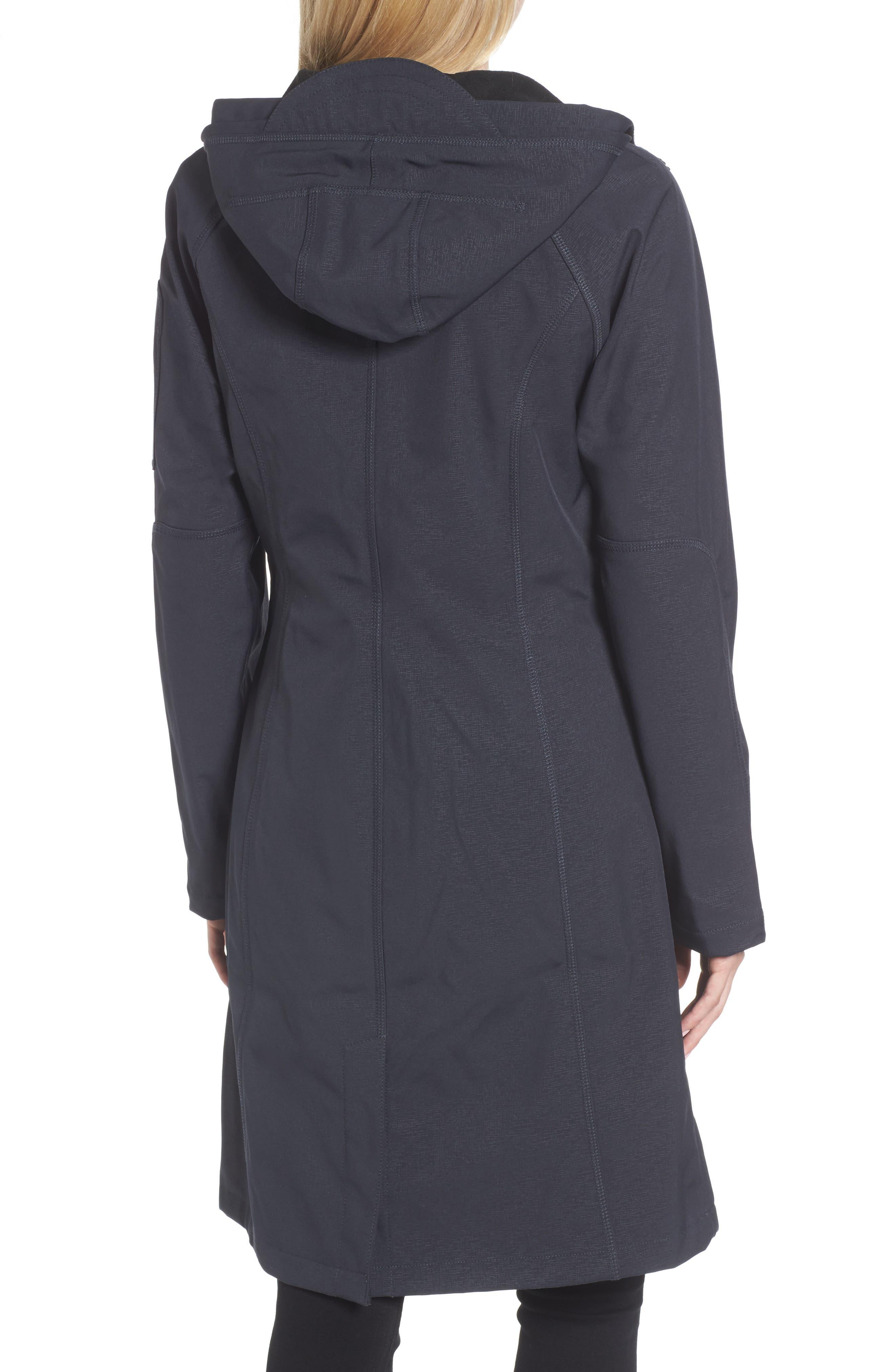 Long Hooded Raincoat,                             Alternate thumbnail 2, color,                             Indigo