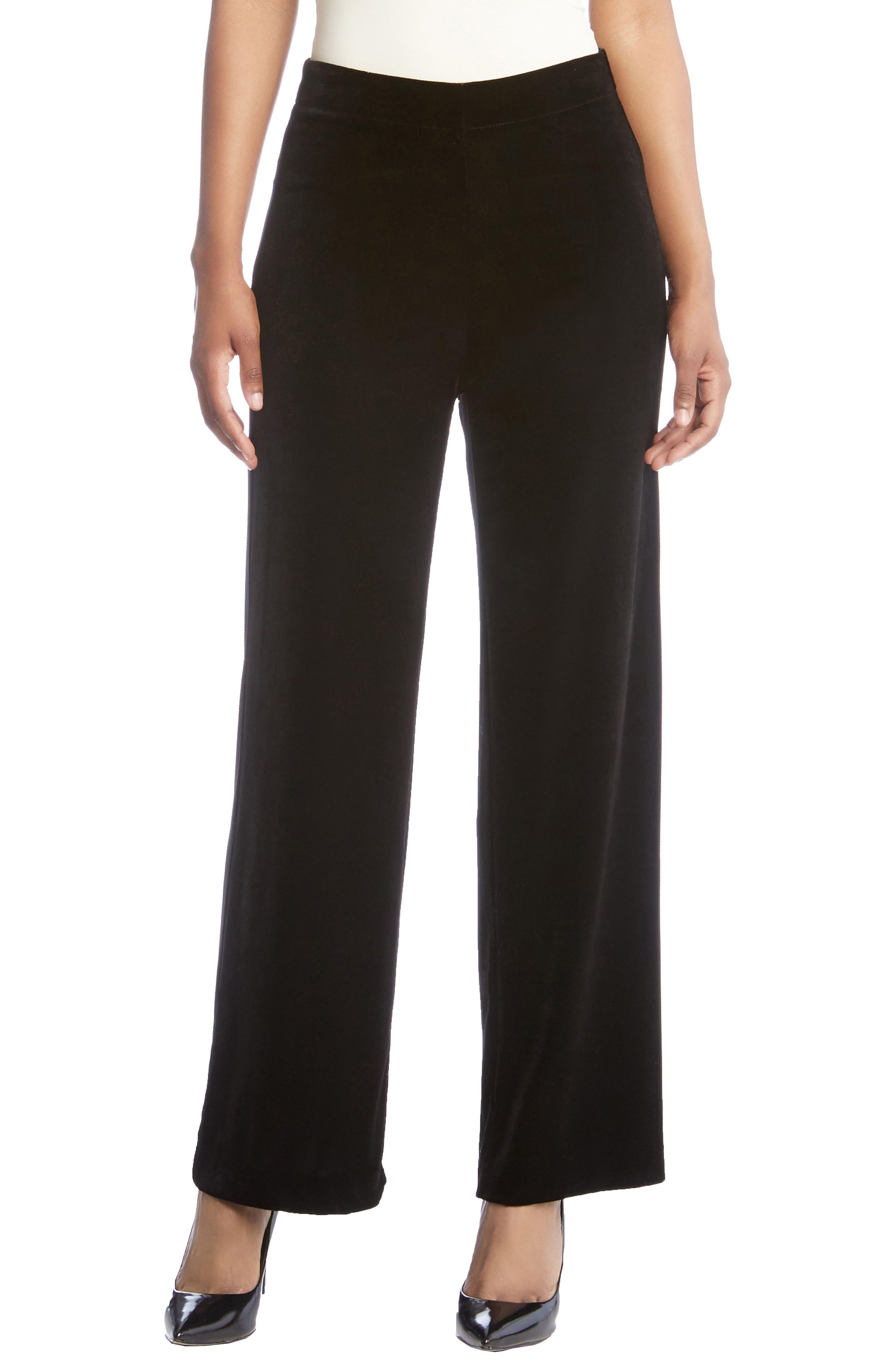 Wide Leg Velvet Pants,                             Main thumbnail 1, color,                             Black